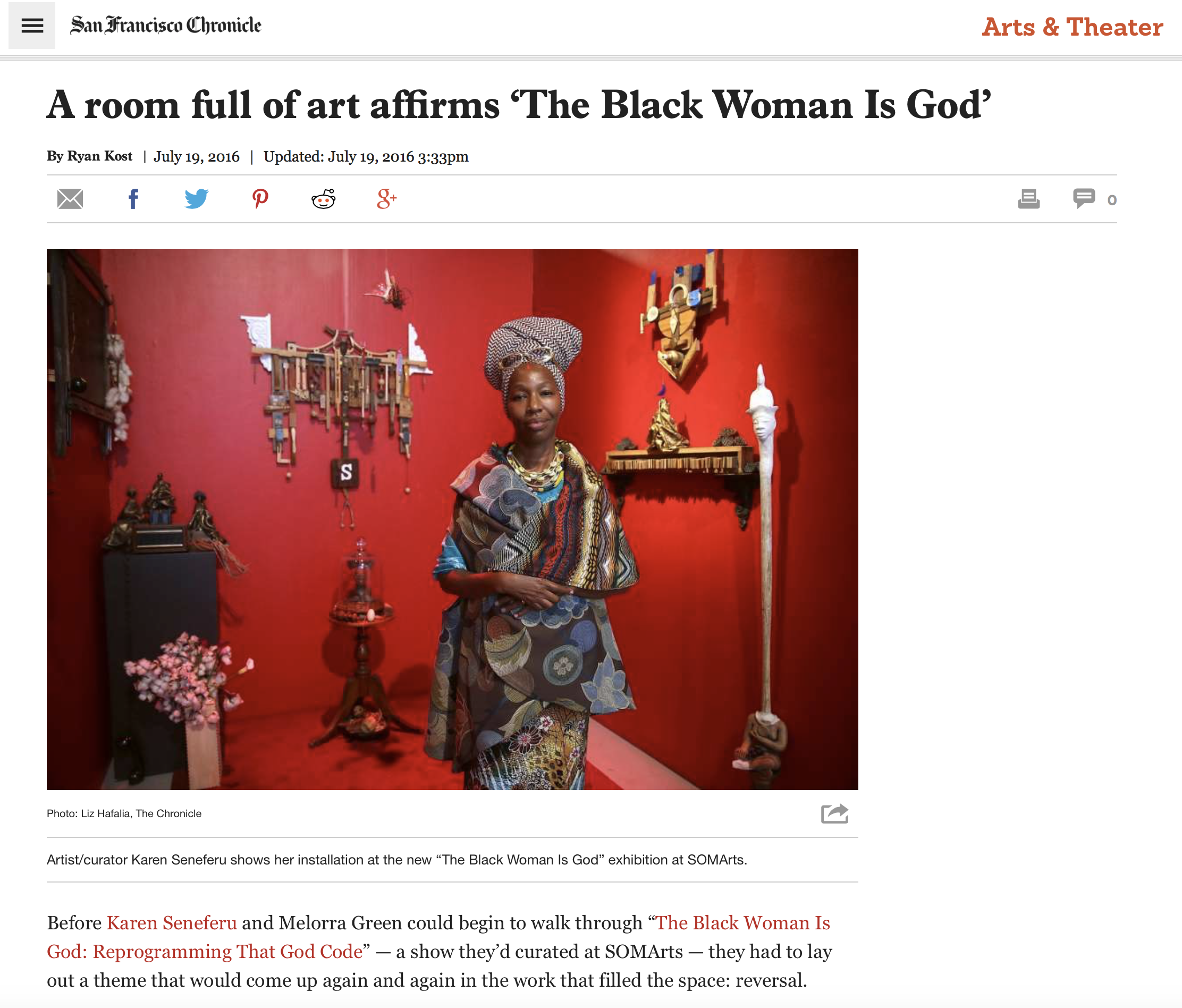 """Kost, Ryan. """"A Room Full of Art Affirms 'The Black Woman Is God'"""" A Room Full of Art Affirms 'The Black Woman Is God'. San Francisco Chronicle, 19 June 2016. Web. 21 July 2016."""