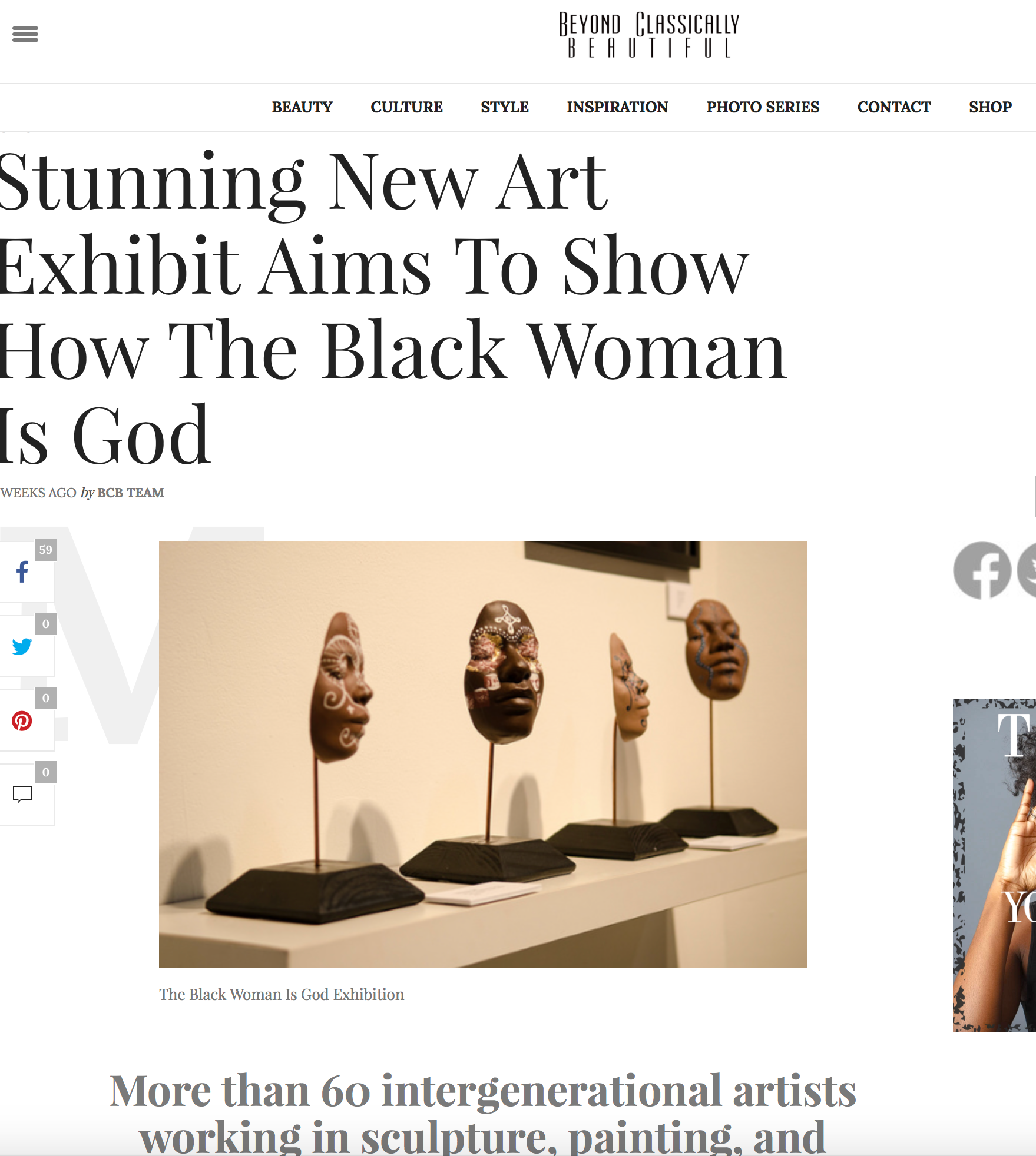 """BCB Team. """"Stunning New Art Exhibit Aims To Show How The Black Woman Is God."""" Beyond Classically Beautiful. July 29, 2016. Accessed August 10, 2016. http://beyondclassicallybeautiful.com/2016/07/stunning-new-art-exhibit-aims-to-prove-the-black-woman-is-god/."""