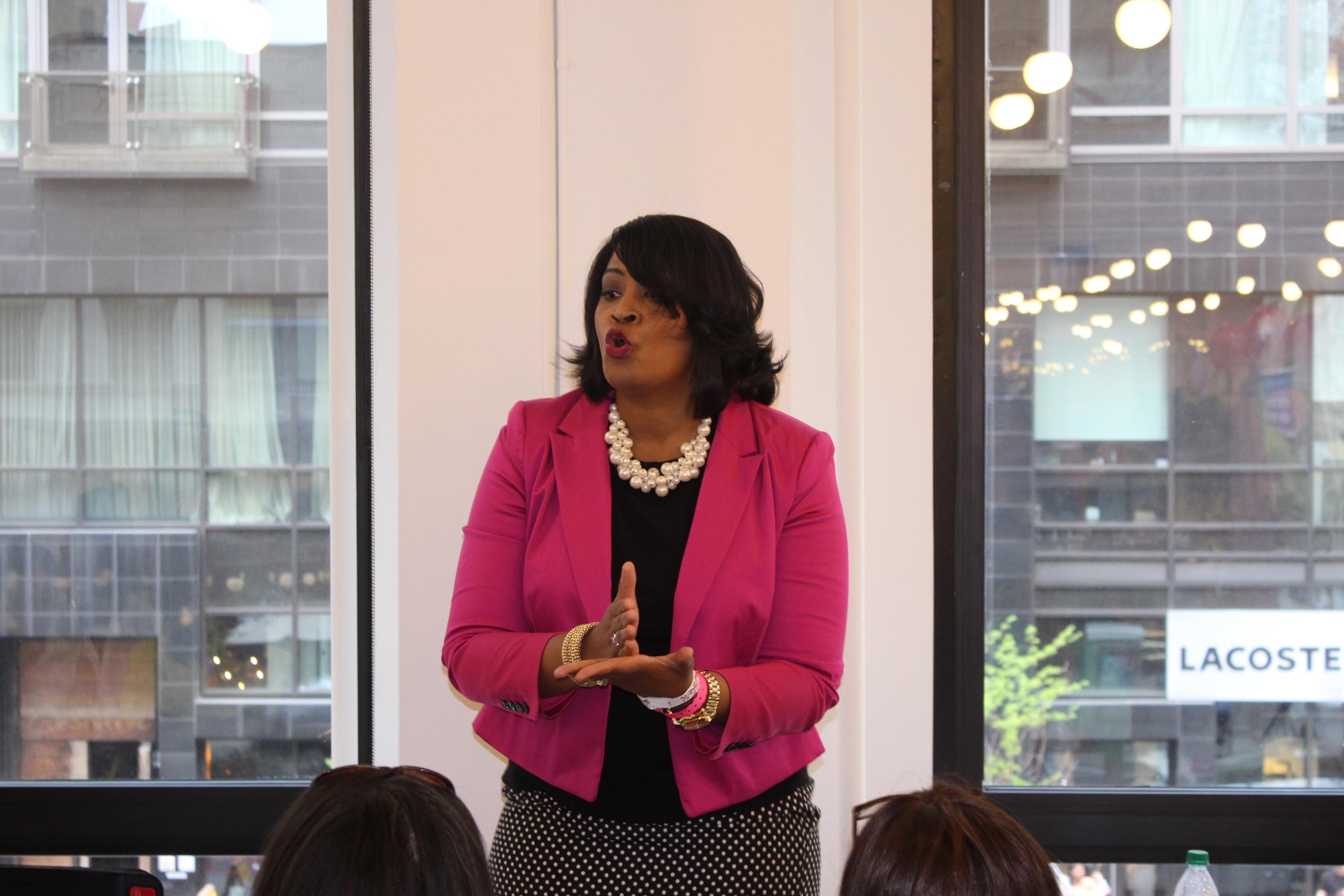 Speaking to a room full of women in Manhattan.