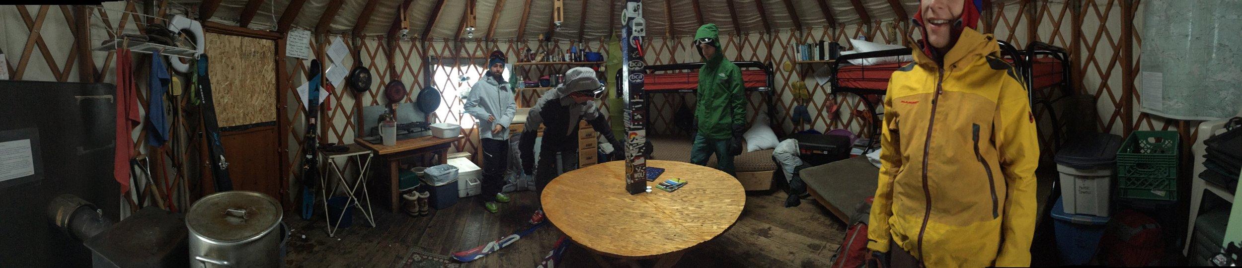 Inside the yurt - cozy.