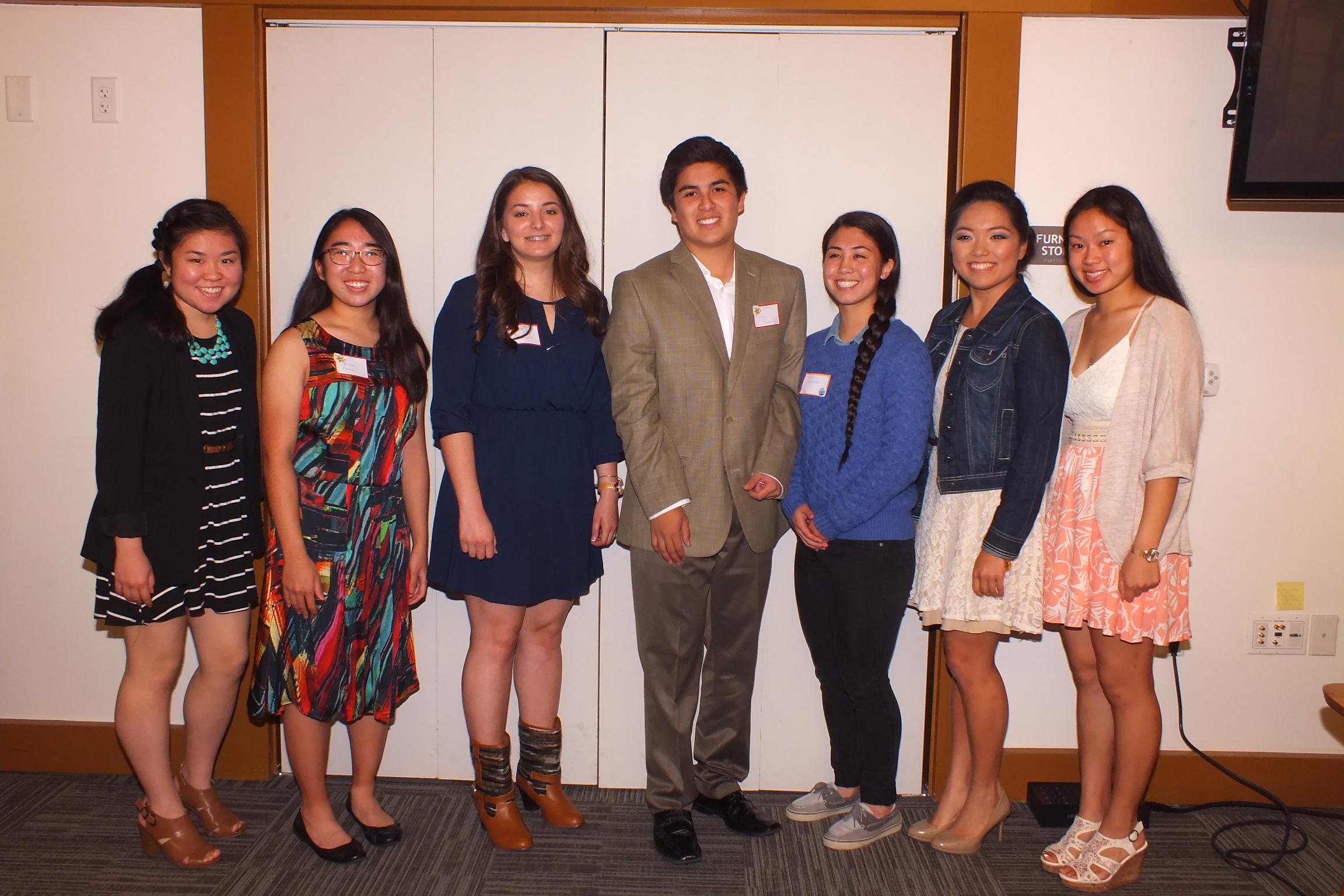 2016 Scholarship Recipients: (left to right) Megan Yabumoto, Kristen Masada, Leila Nakasone, Christopher Takeuchi, Kylie Kuwada, Alson Shikada, Jemma Jio
