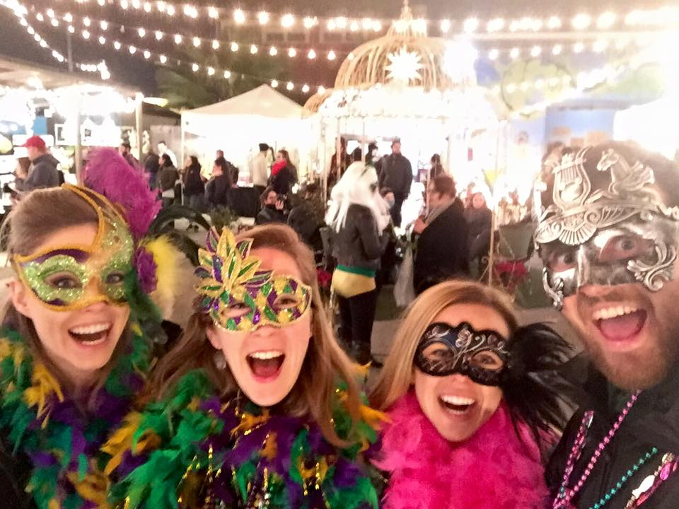 Going out in Mardi Gras masks.