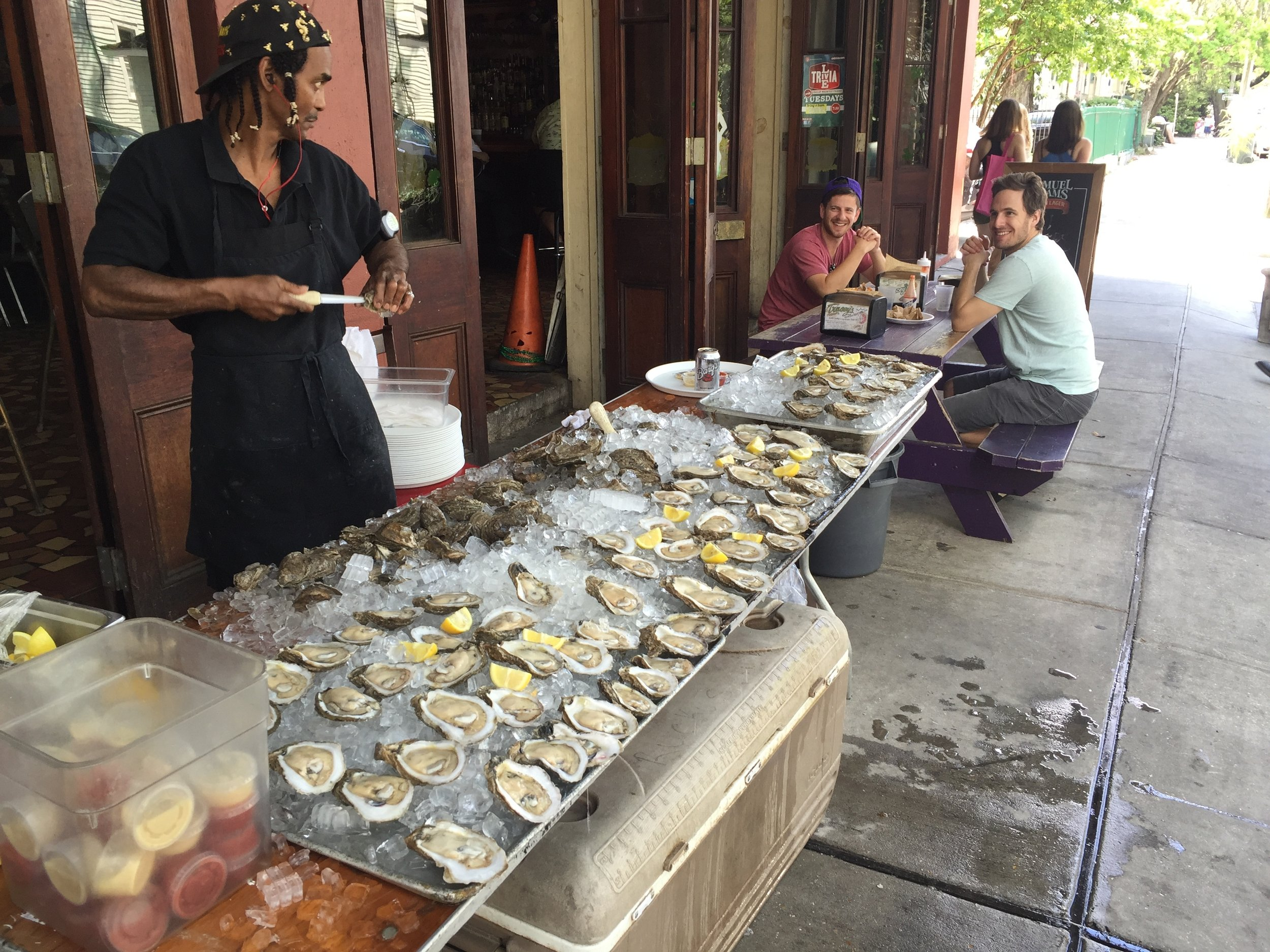 Oysters being shucked on Magazine Street in New Orleans.