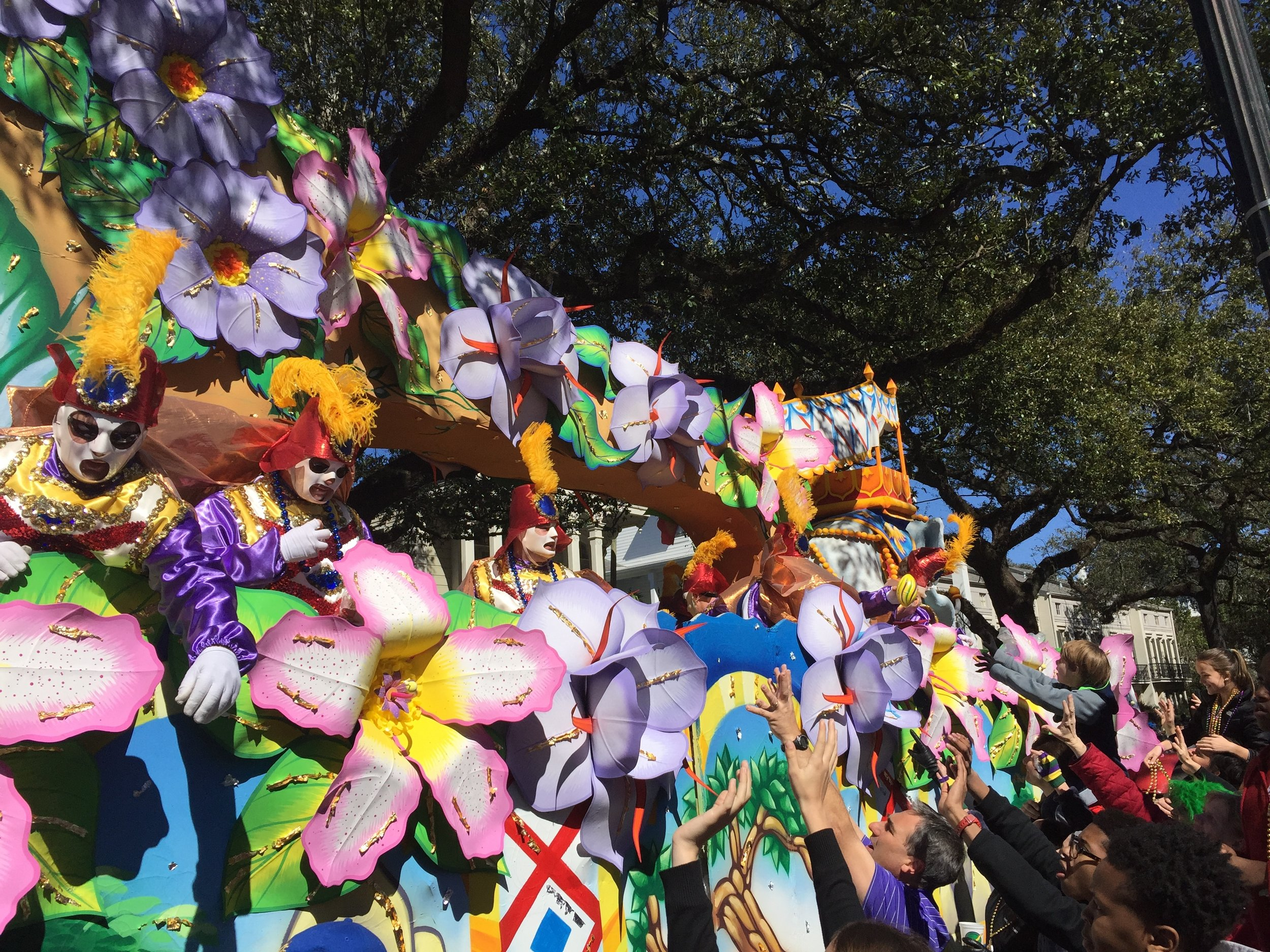 Mardi Gras parade float rolling through Uptown in New Orleans.