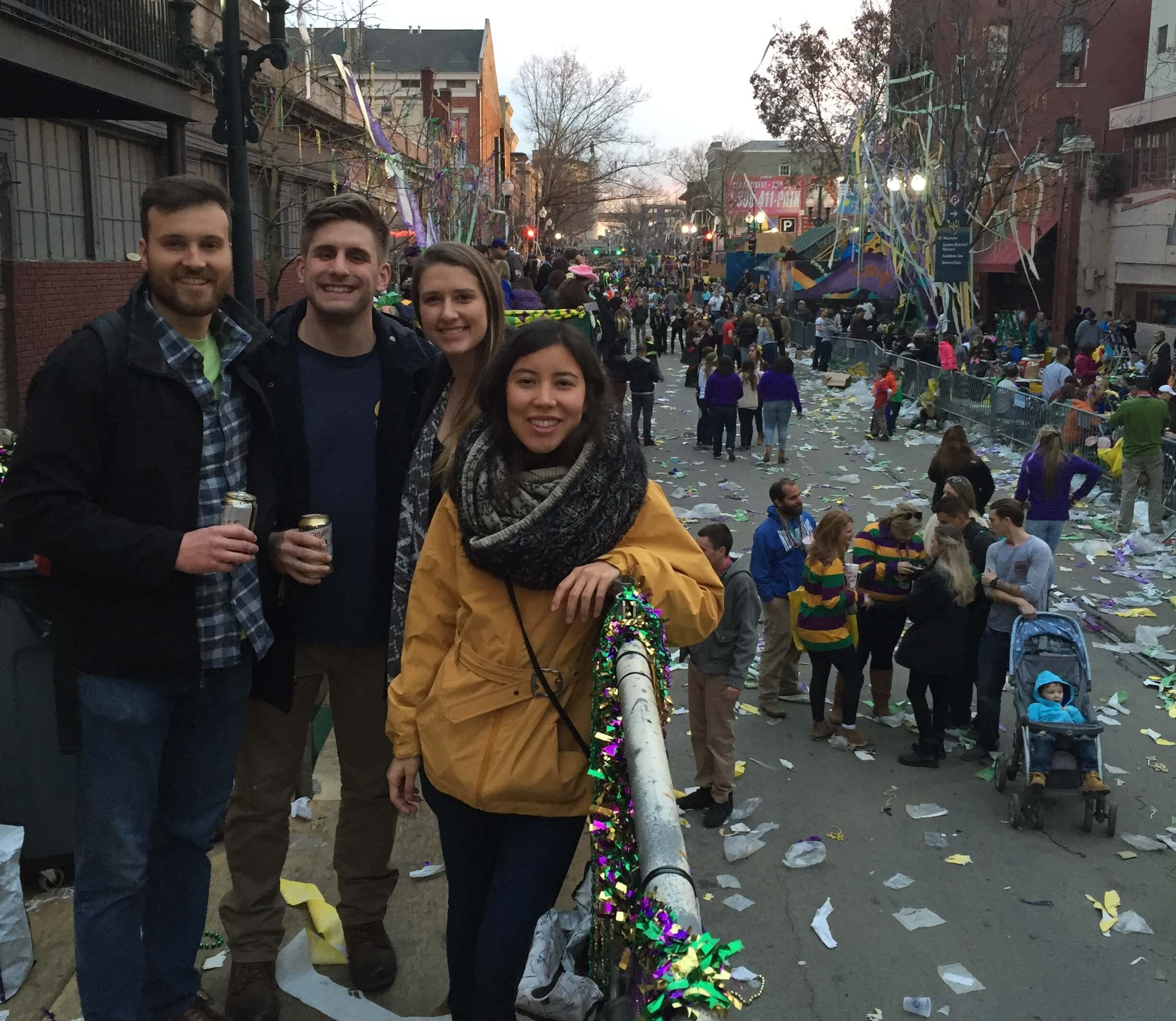Hanging out on a Mardi Gras parade viewing balcony.