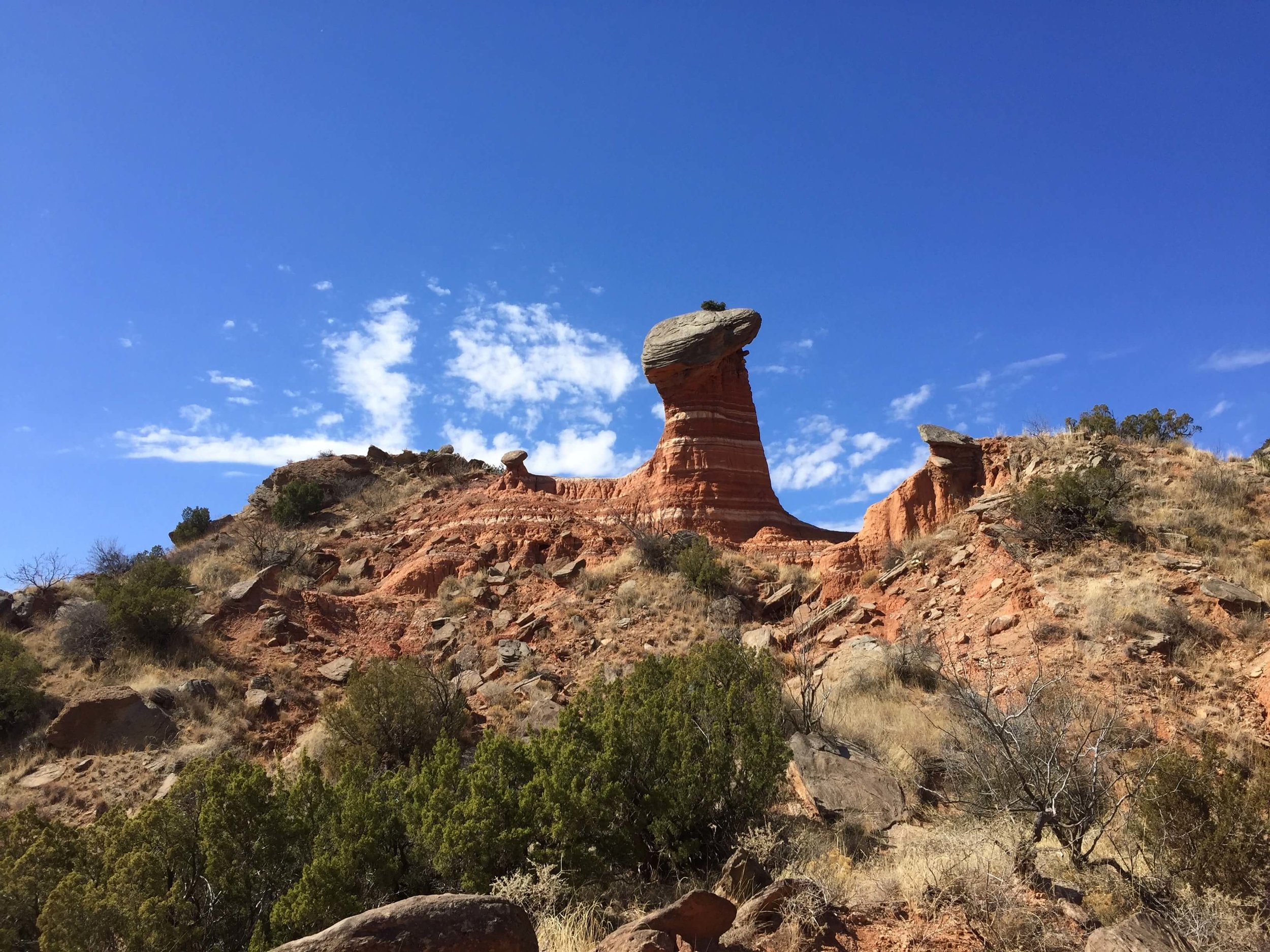 An impressively large mushroom formation on the Givens, Spicer, and Lowry Trail in Palo Duro Canyon State Park.