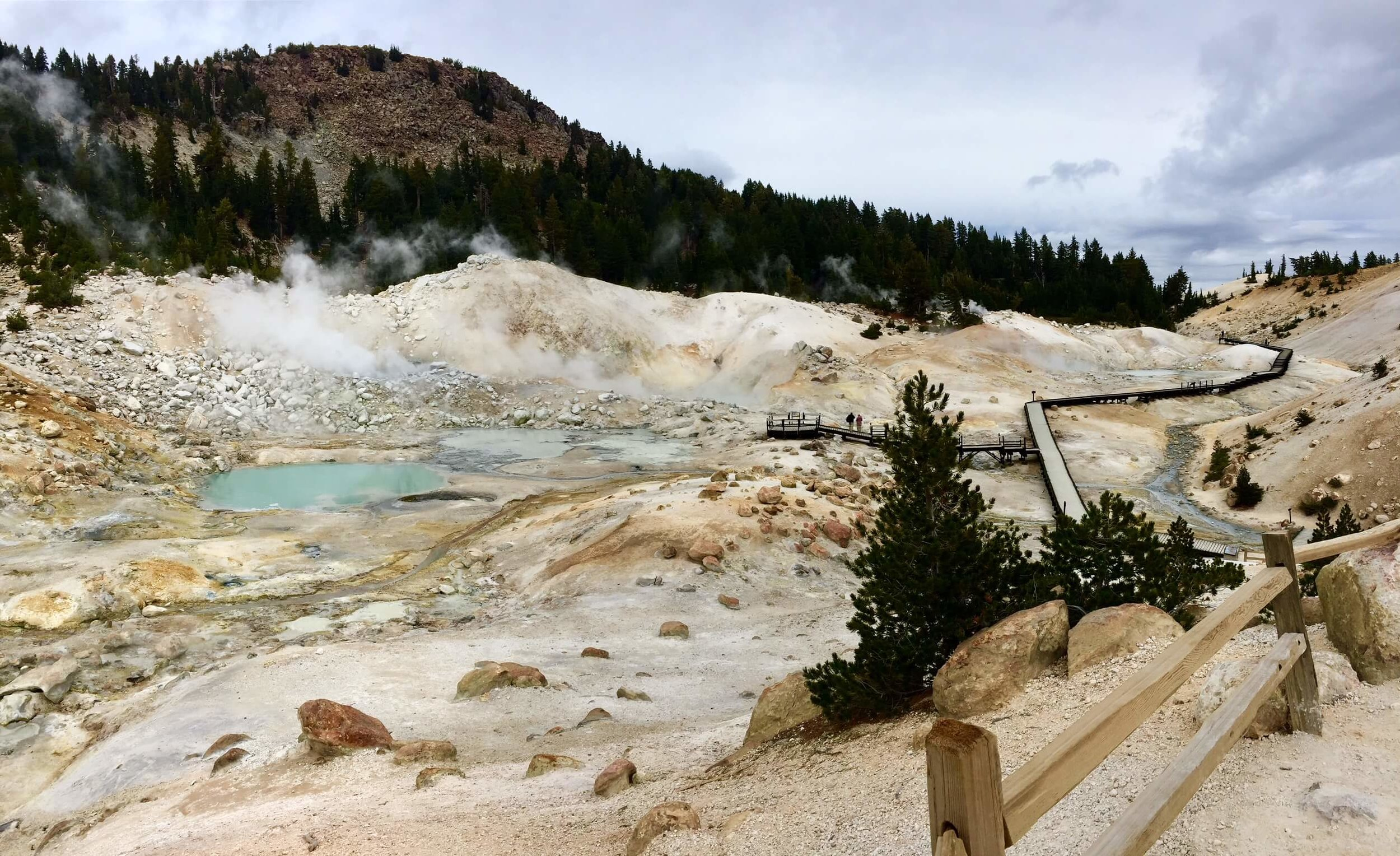 Boiling ponds of acidic water and death at Bumpass Hell.