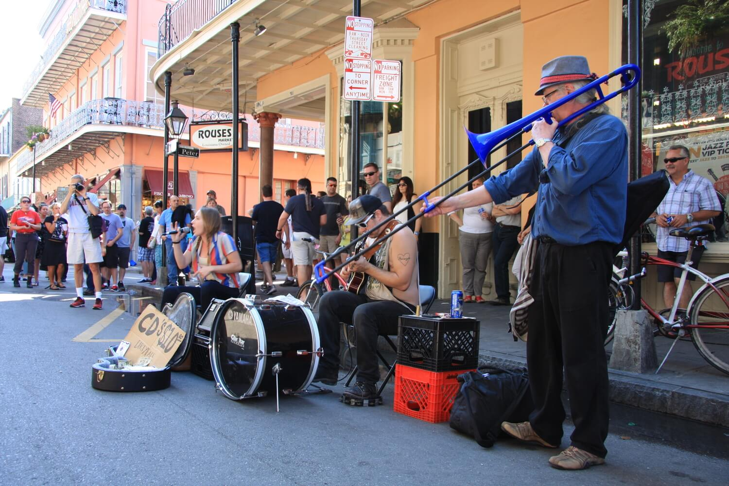 A band performing in the streets of New Orlean's French Quarter. #4 in The Best Things to Do in the French Quarter.