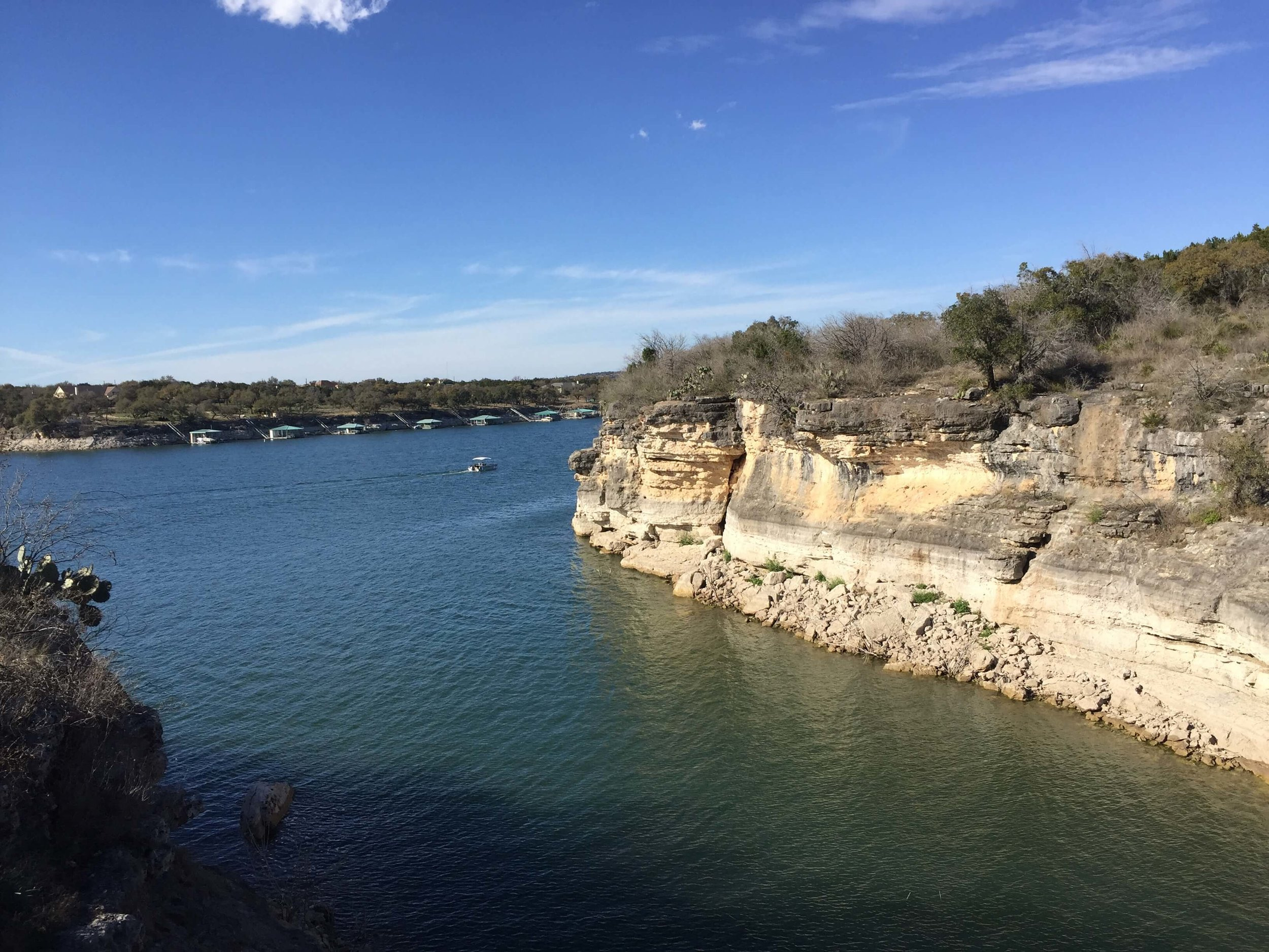 Lake Travis and Pace Bend, home to cliffs and fun rocks to climb!