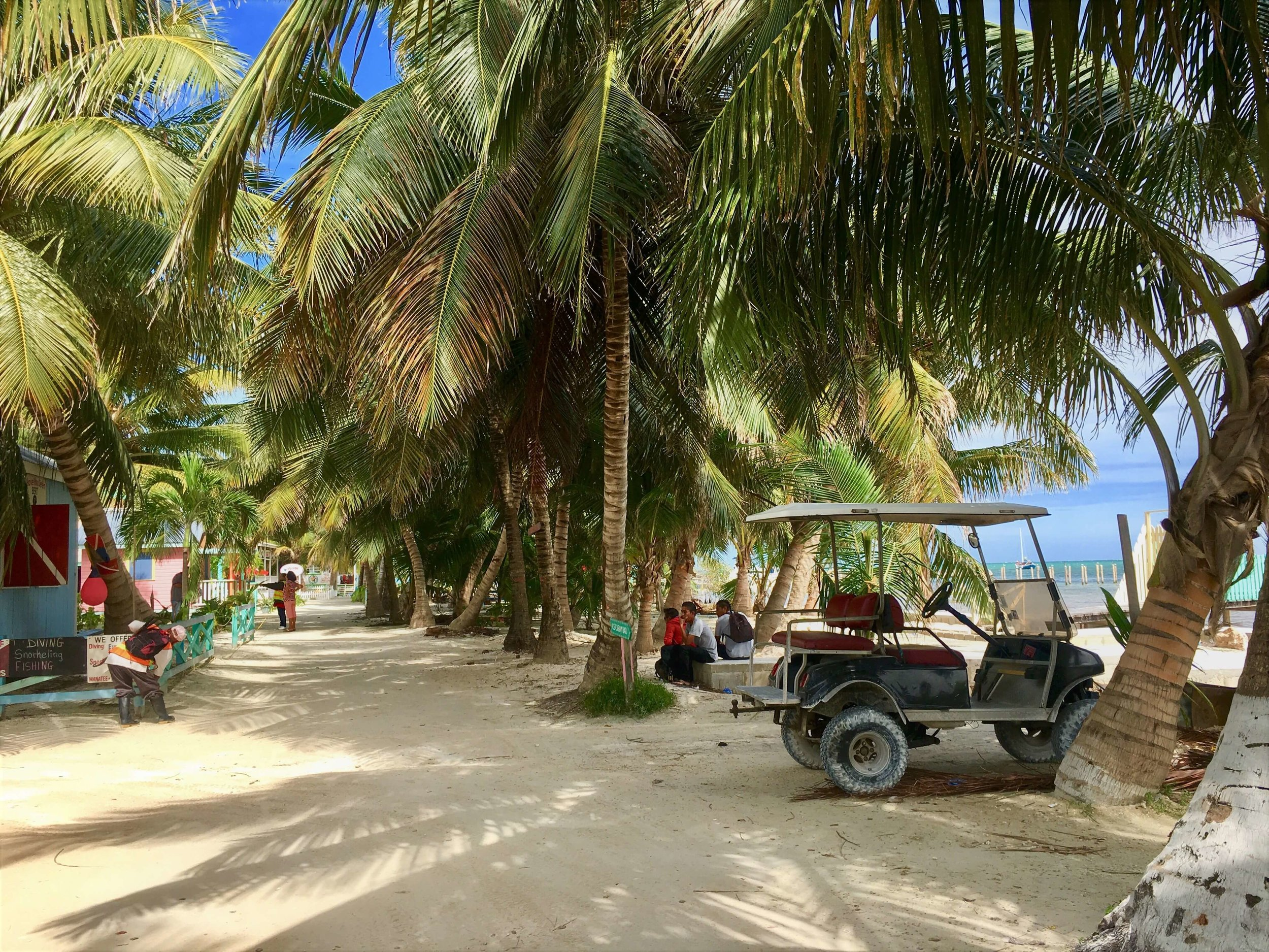 The chill golf cart life on San Pedro (Ambergris Caye, Belize).