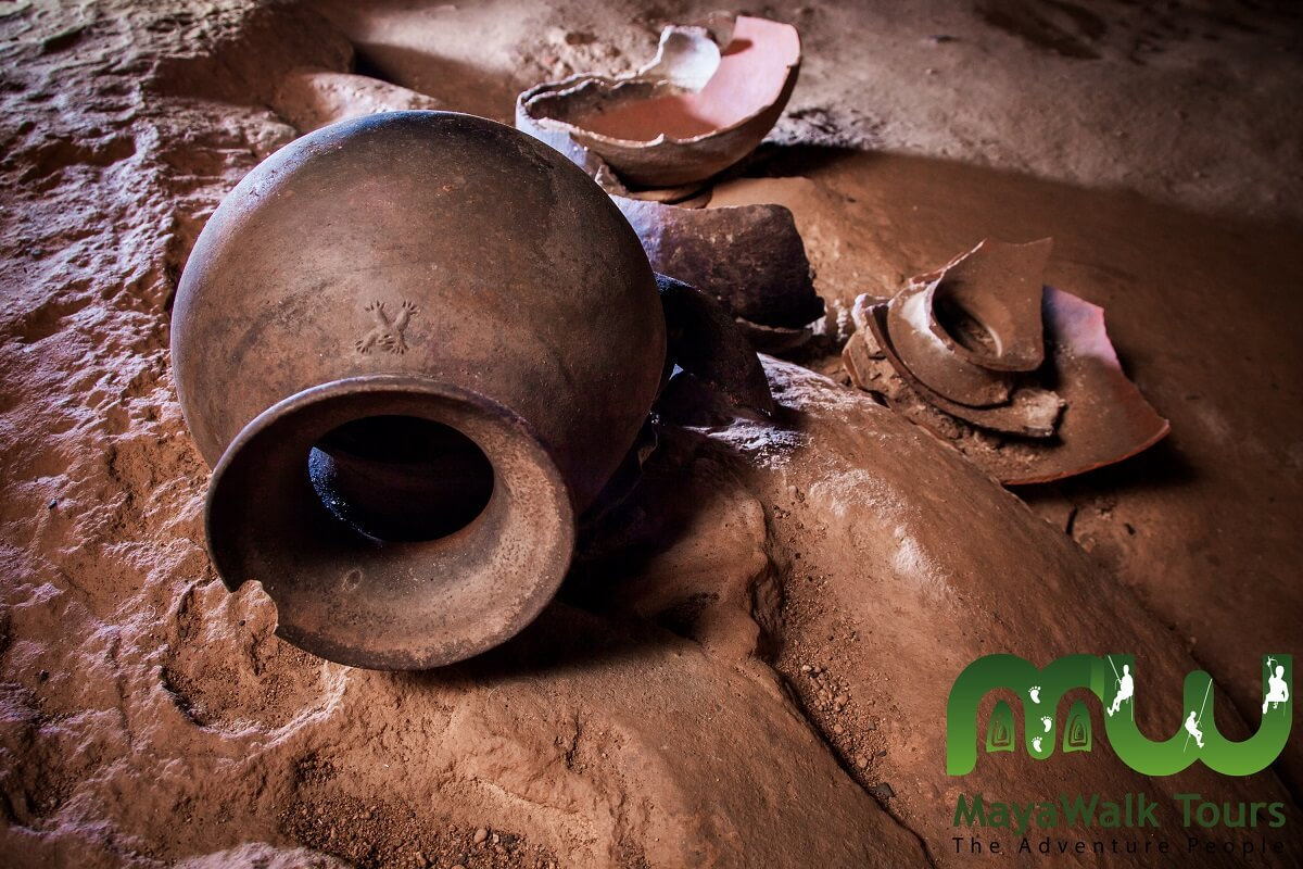 Ancient Mayan pottery that has been exceptionally well preserved in Belize's ATM Cave. Photo courtesy of MayaWalk Tours.