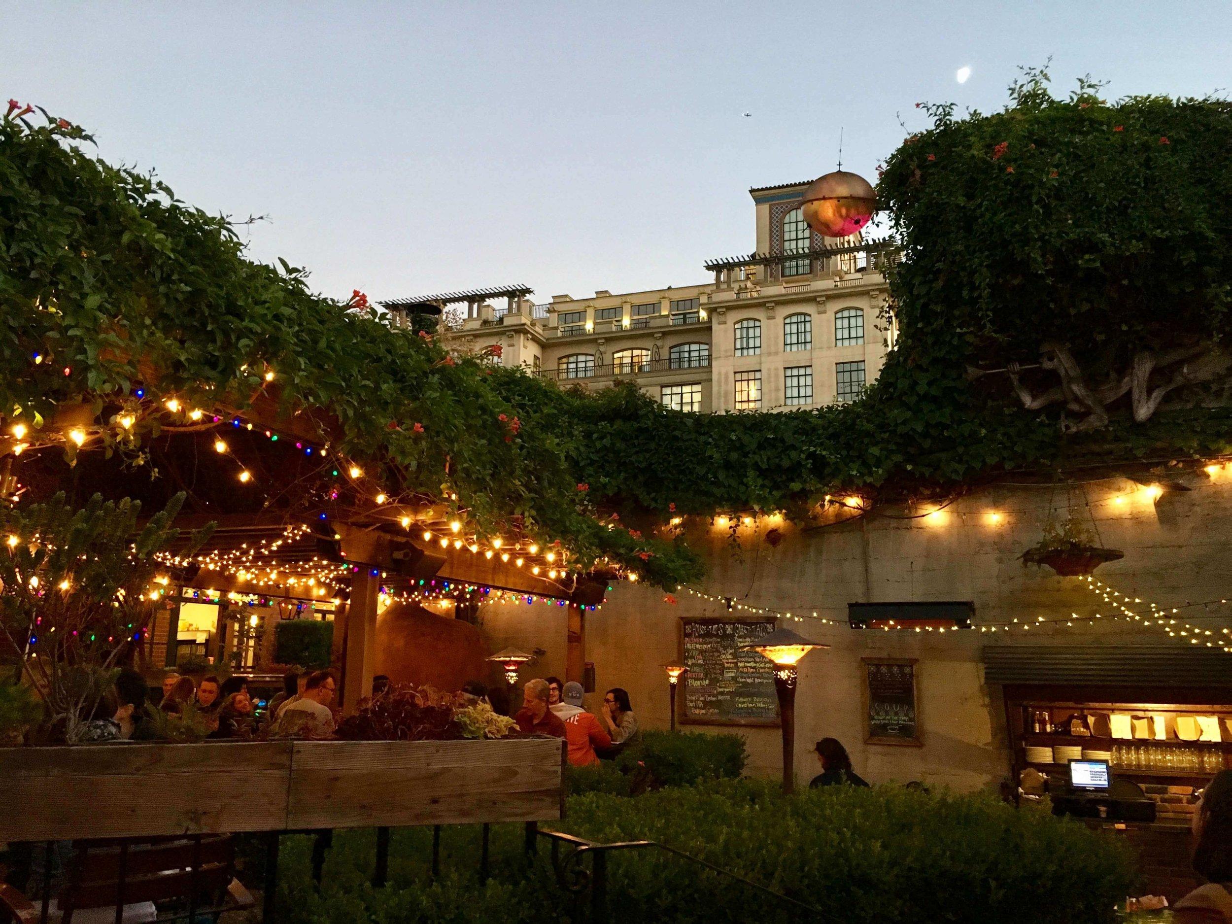 The charming courtyard in Jupiter, our favorite Berkeley bar.