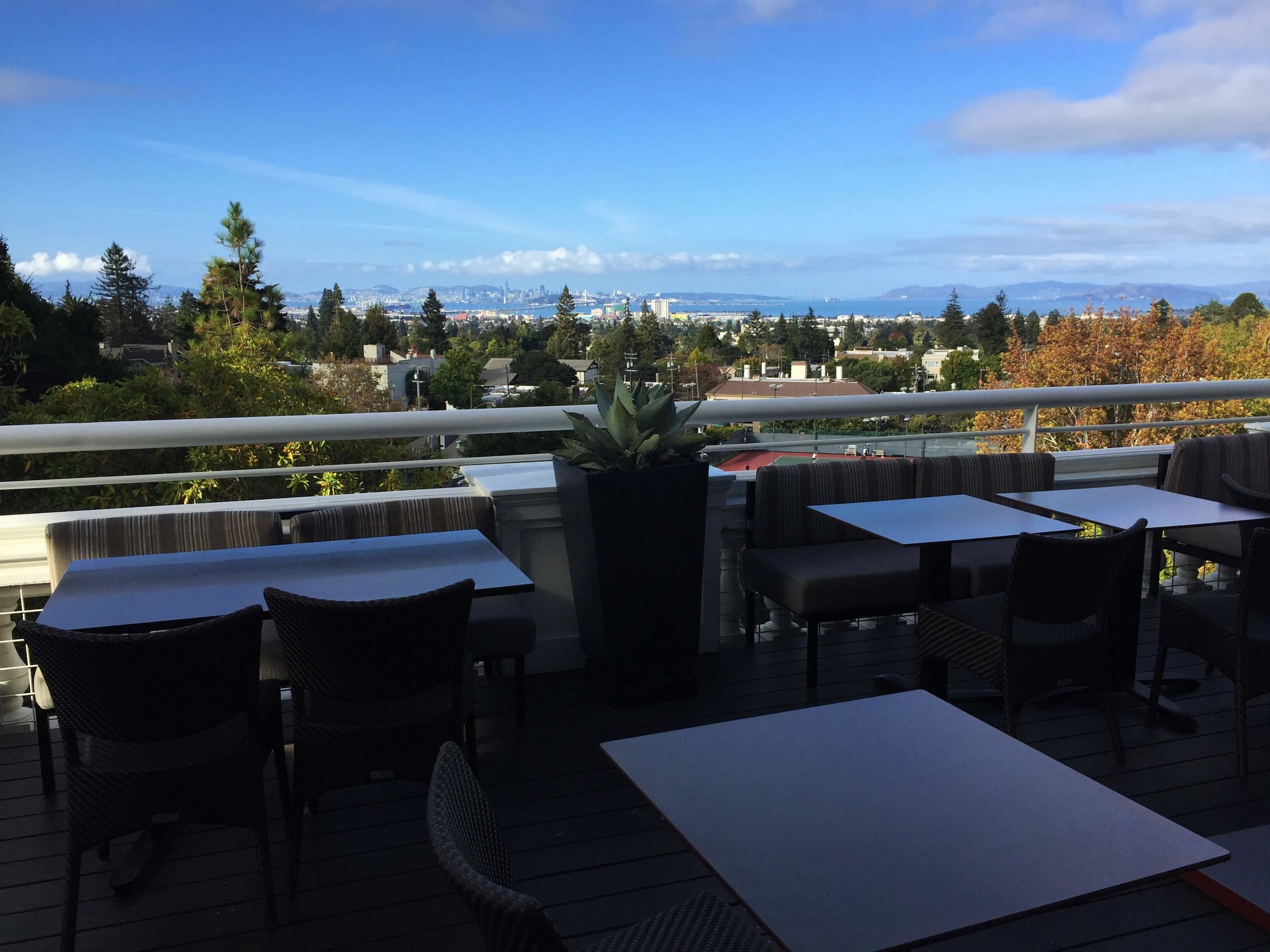 The best view of any bar in Berkeley (Claremont Hotel Bar and Restaurant, Berkeley).