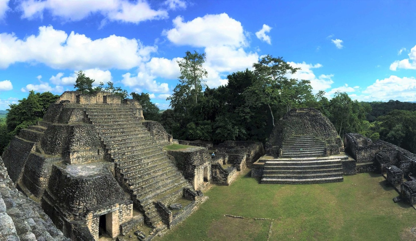 Pyramids on pyramids at Caracol Mayan Ruin, deep in the jungle of Belize.