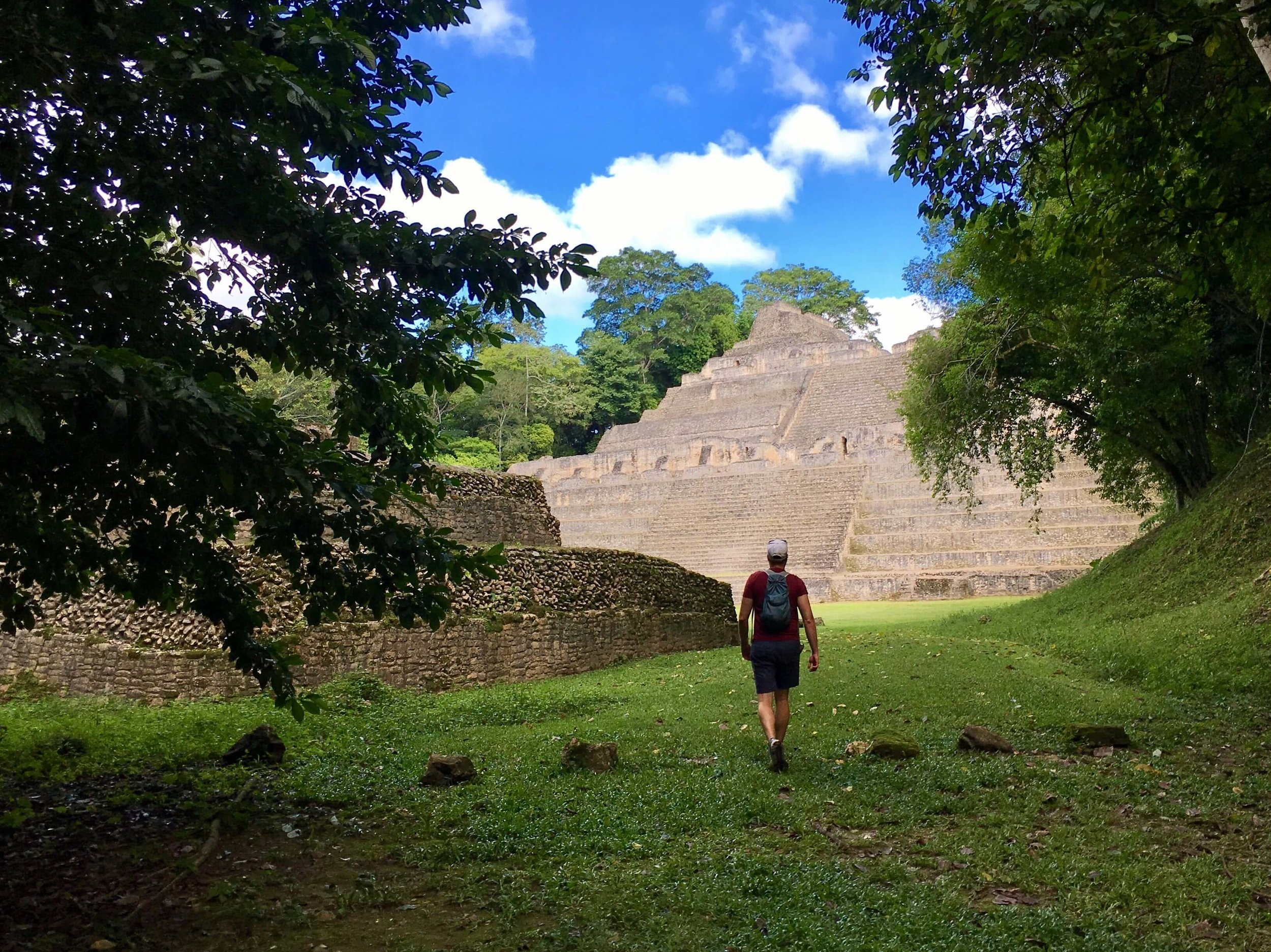 A real example of exploration within a Mayan Ruin. Caracol Mayan Ruin, Belize.