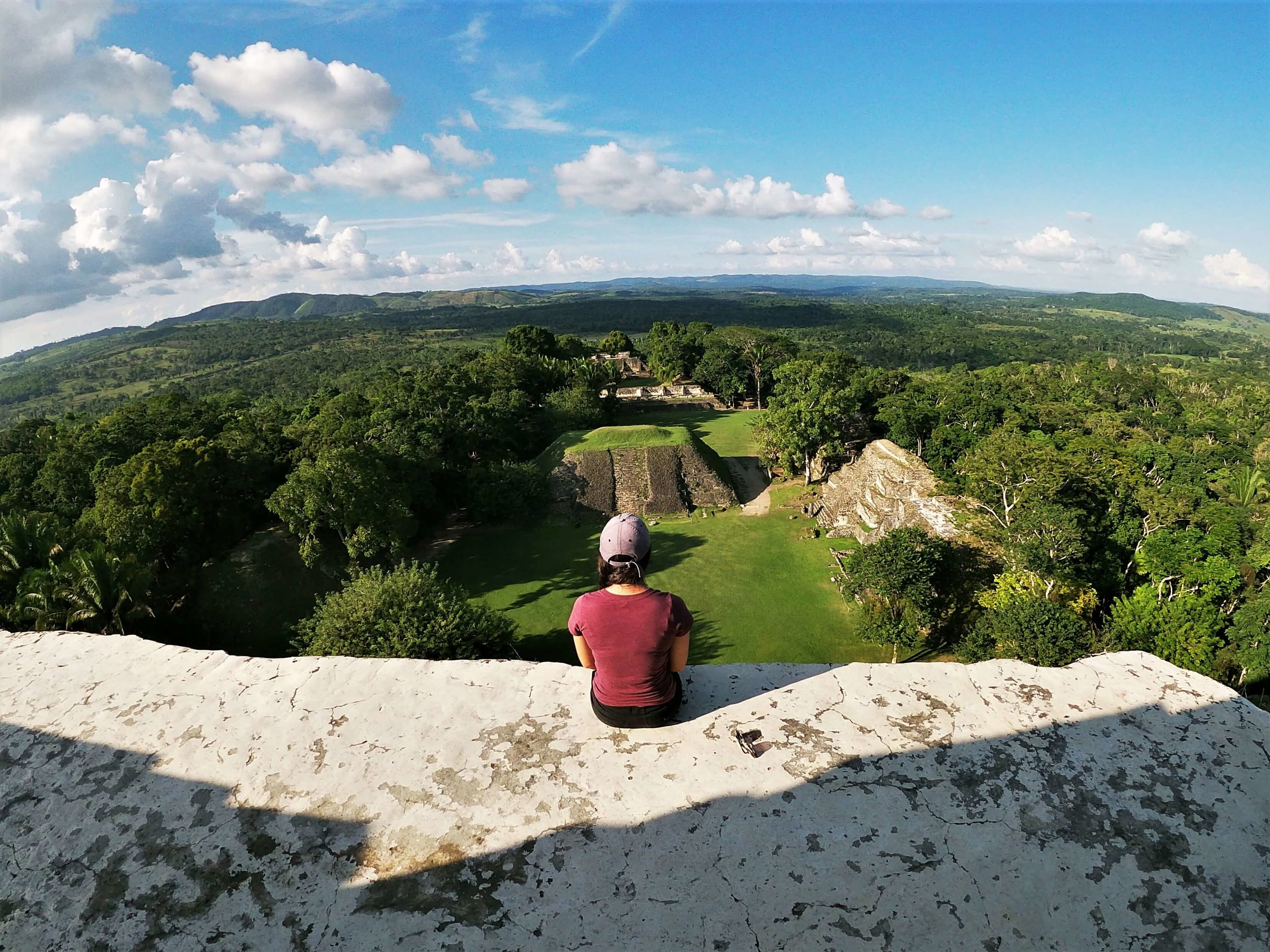 The spectacular view of Belize from the top of the tallest feature at Xunantunich Mayan Ruin.
