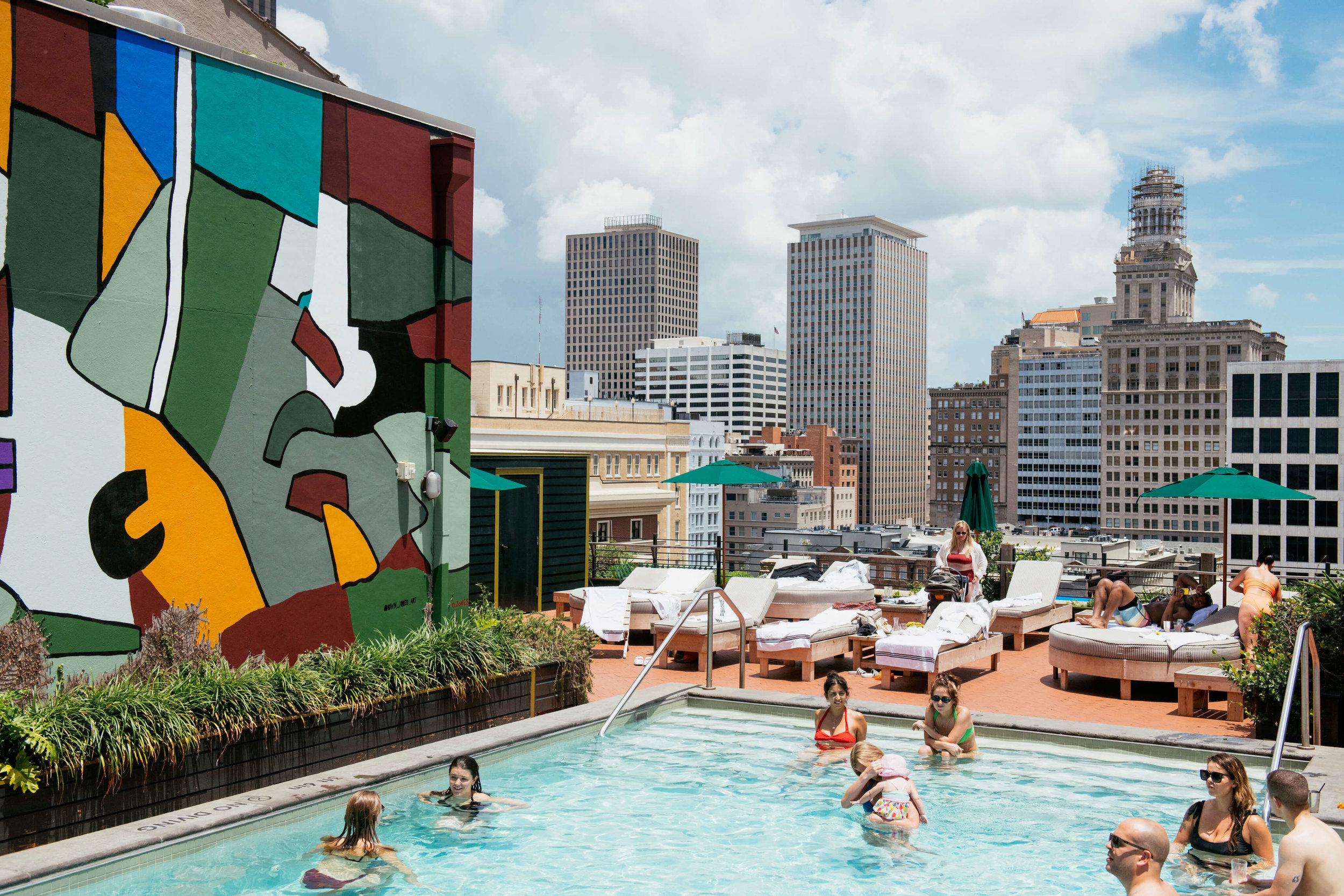 Chilling out at the New Orleans Ace Hotel's Alta roof top pool. Photo credit: Rush Jagoe.