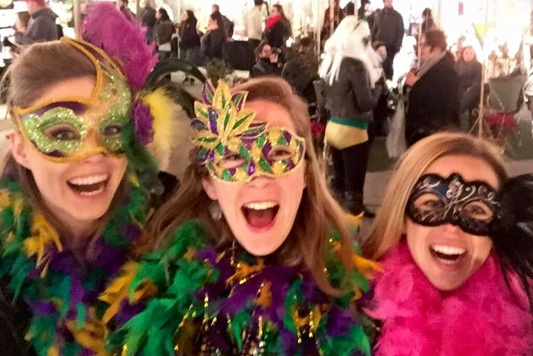 Some serious bachelorette excitement during Mardi Gras in New Orleans.