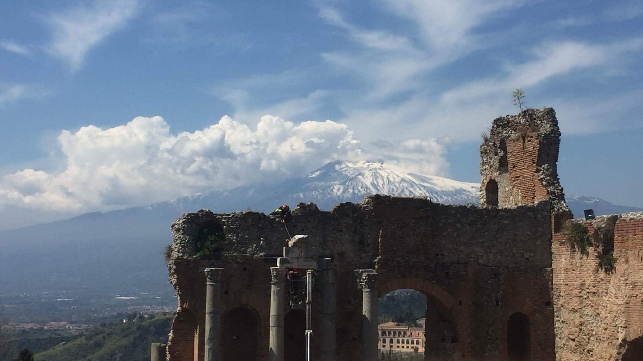 Another epic view of Mt. Etna from the Greek Theater in Taormina.