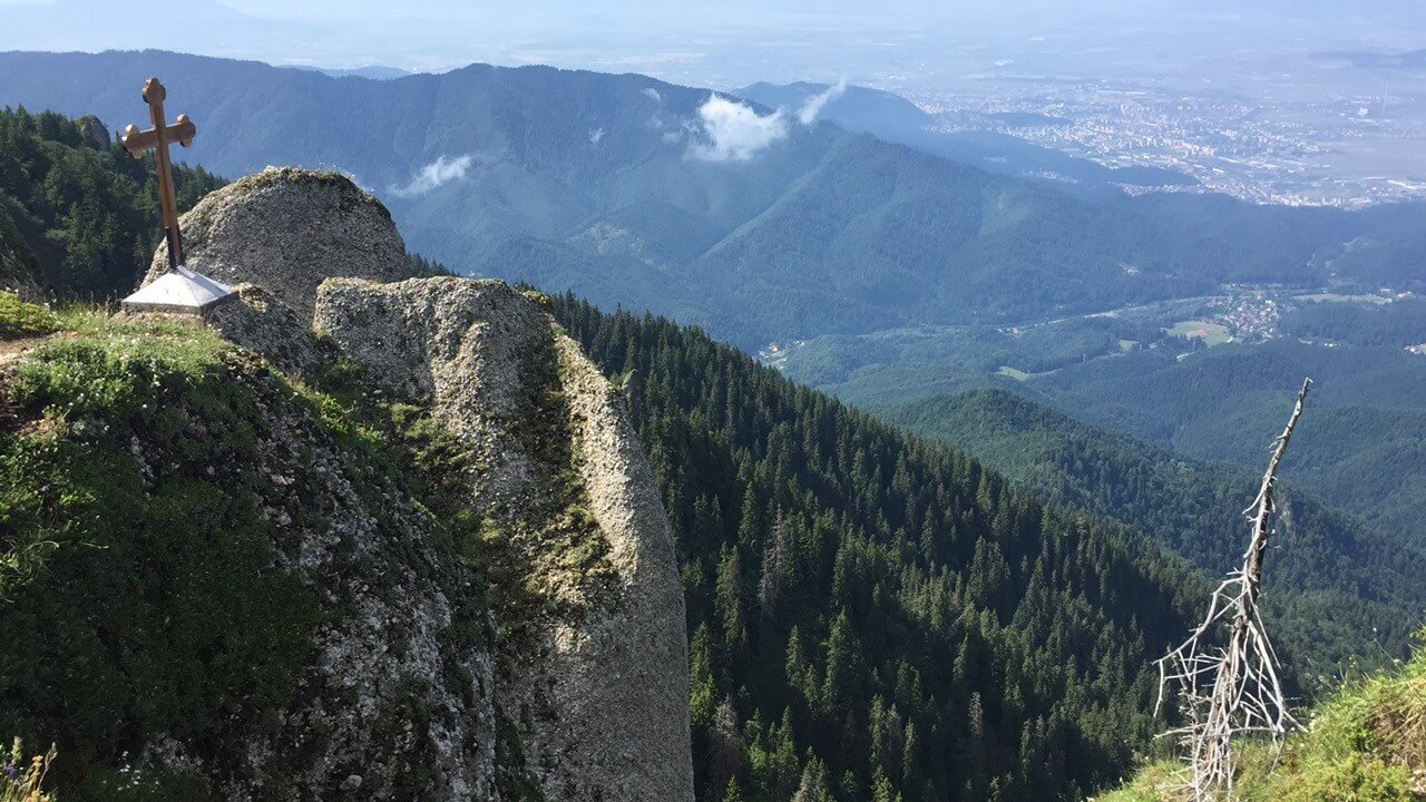 Sweeping views from the top of Pietra Mare where you can even see the city of Brasov in the distance.