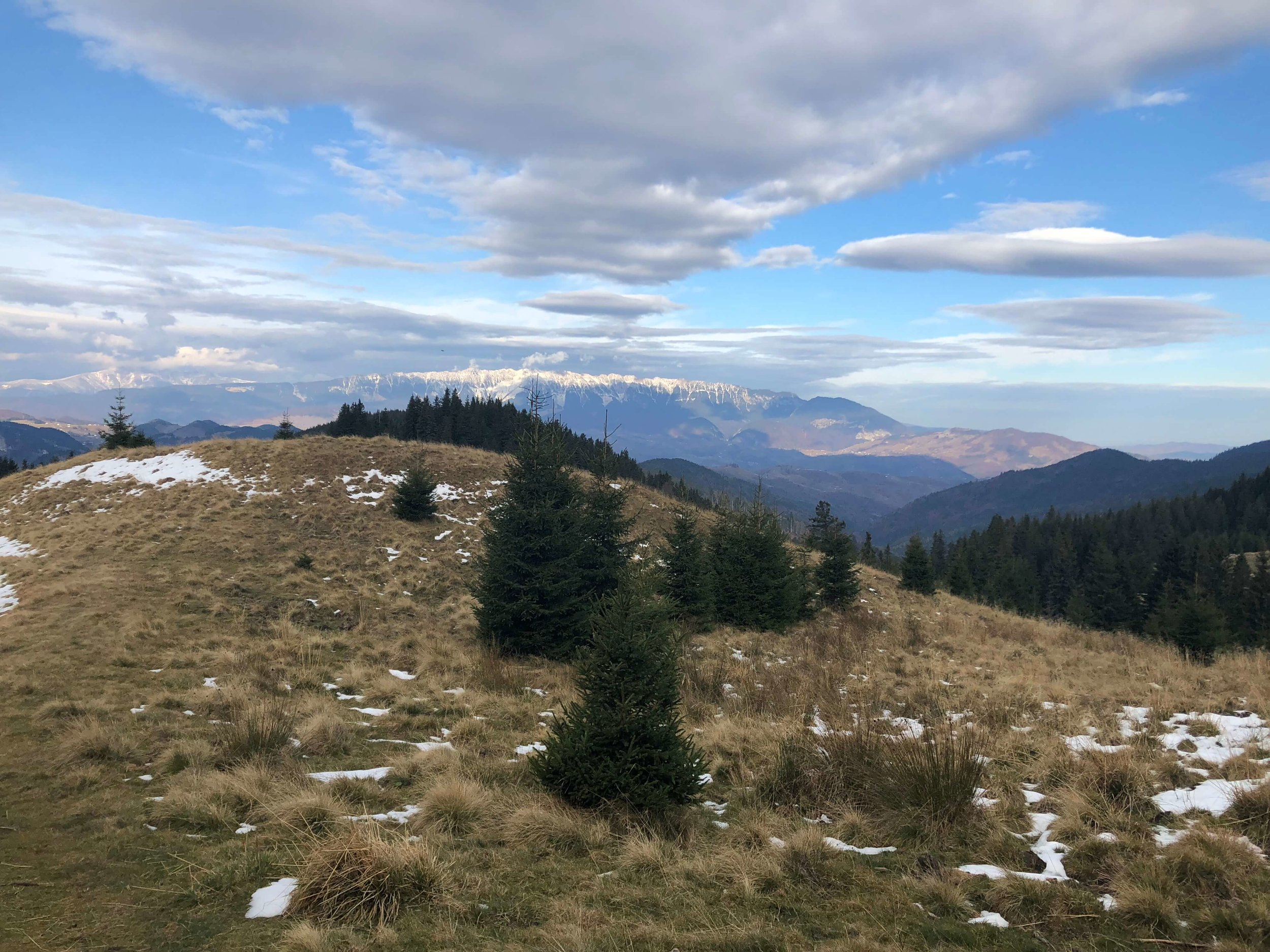 During nearly the entire hike you will be able to see this incredible view of  Piatra Craiului  in the distance.