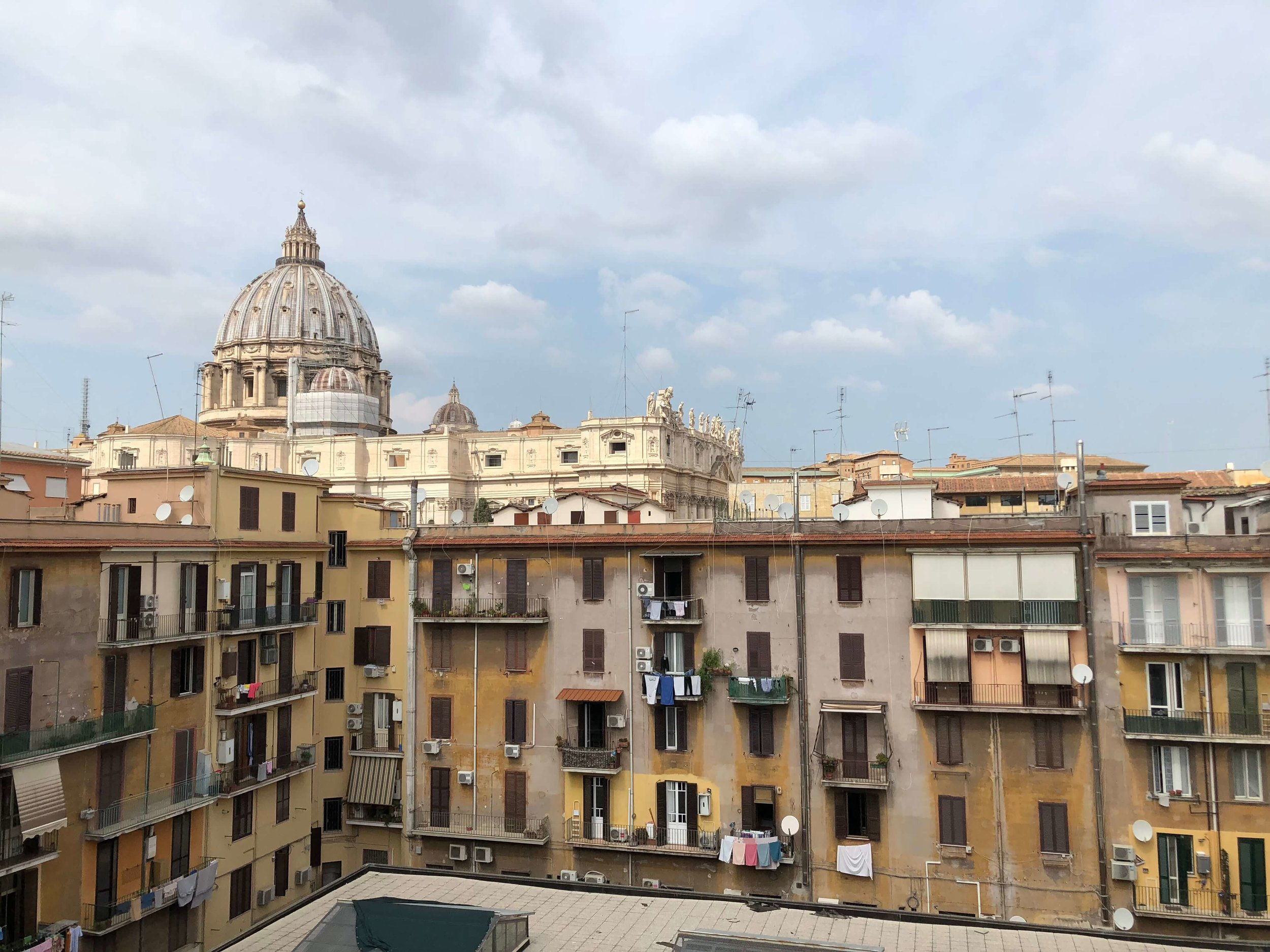 A view of San Pierto's Basilica from a near by neighborhood in Rome.