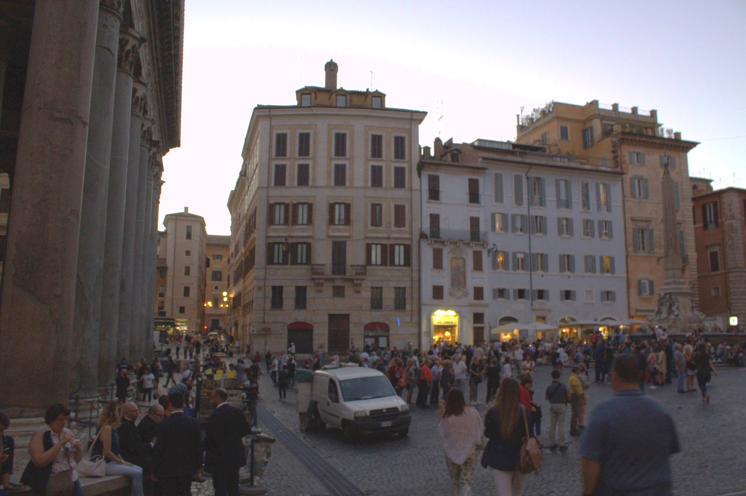 A busy Piazza, the Pantheon is gathered by many for drinks and food any time of the day.