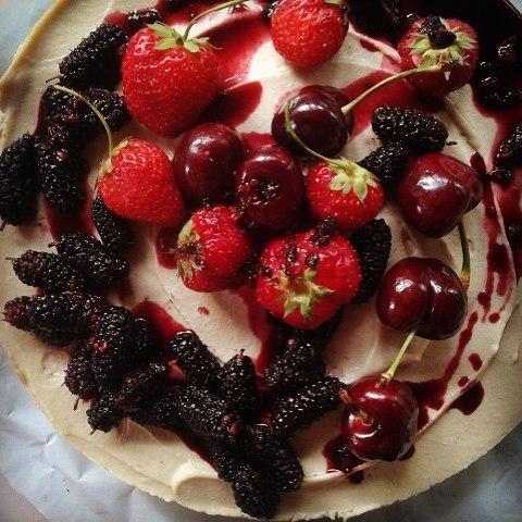 Raw Vegan Lemon Cheesecake topped with Mulberry Coulis... #raw #veganlife #glutenfree #sugarfree #cheesecake