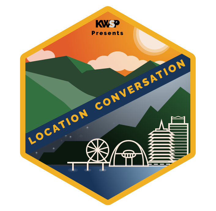 First Draft of Location Conversation podcast cover with draft logo.