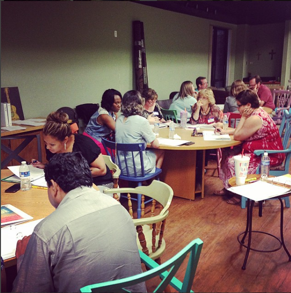 The Beta Class participates in round table discussions of Holy Spirit 101 in September of 2015.