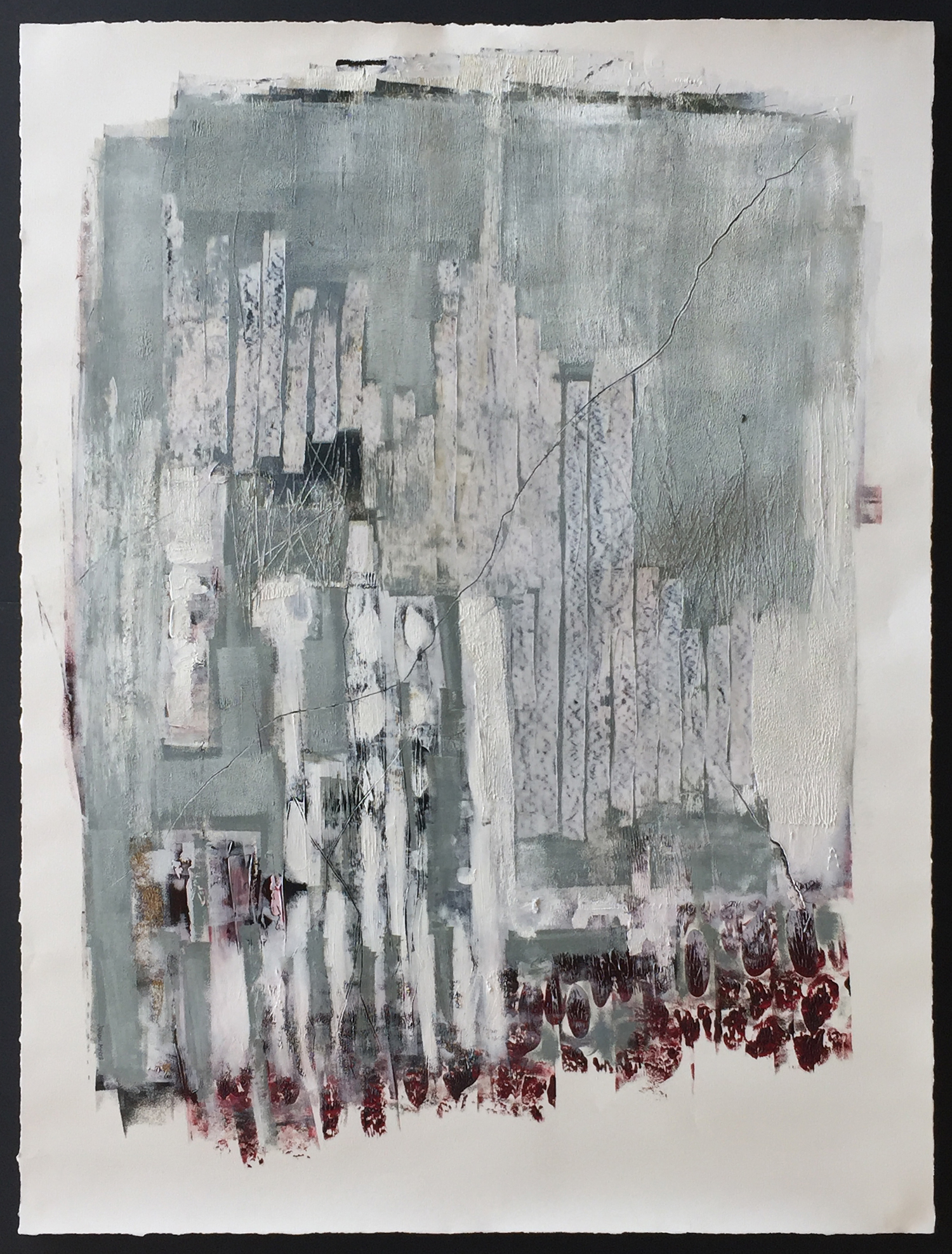 """BRIGHT AS GLASS 47"""" x 65"""" / Mixed Media on Paper"""