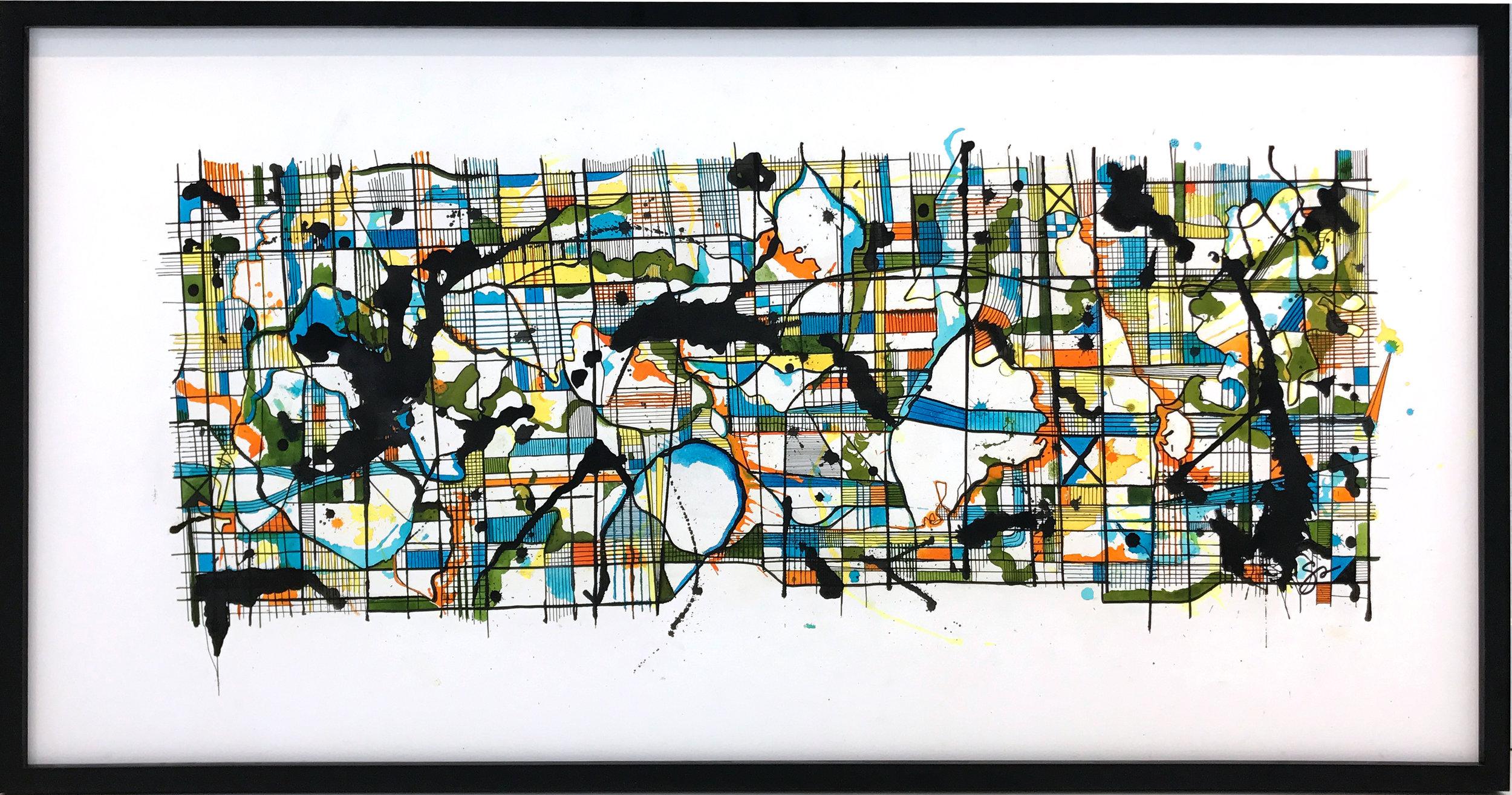 RORSCHACH,SWISSE  60″ x 30″ / Ink + Radiant Watercolor