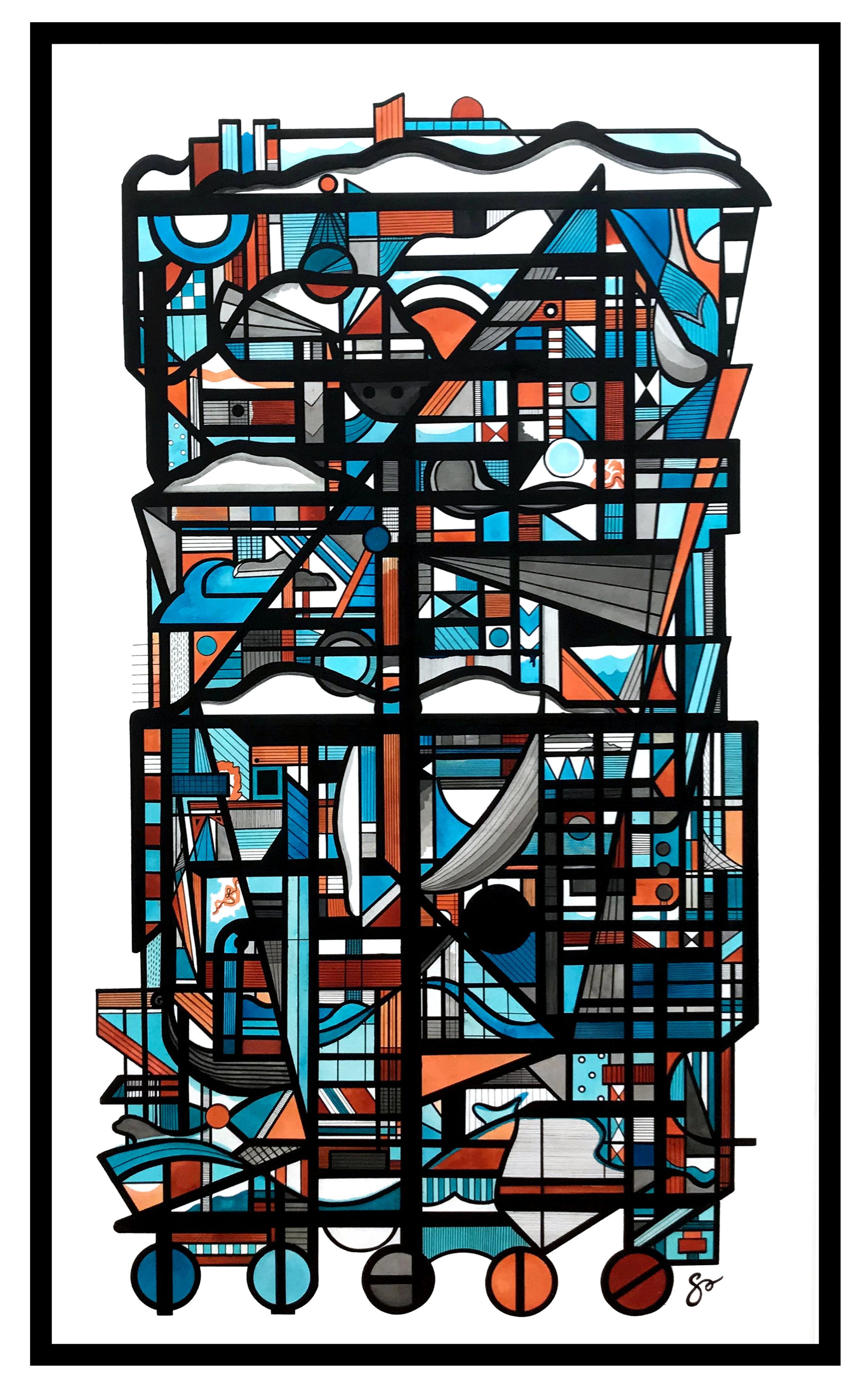 """ASTORIA  42""""x 70″ / Ink + Radiant Watercolor"""
