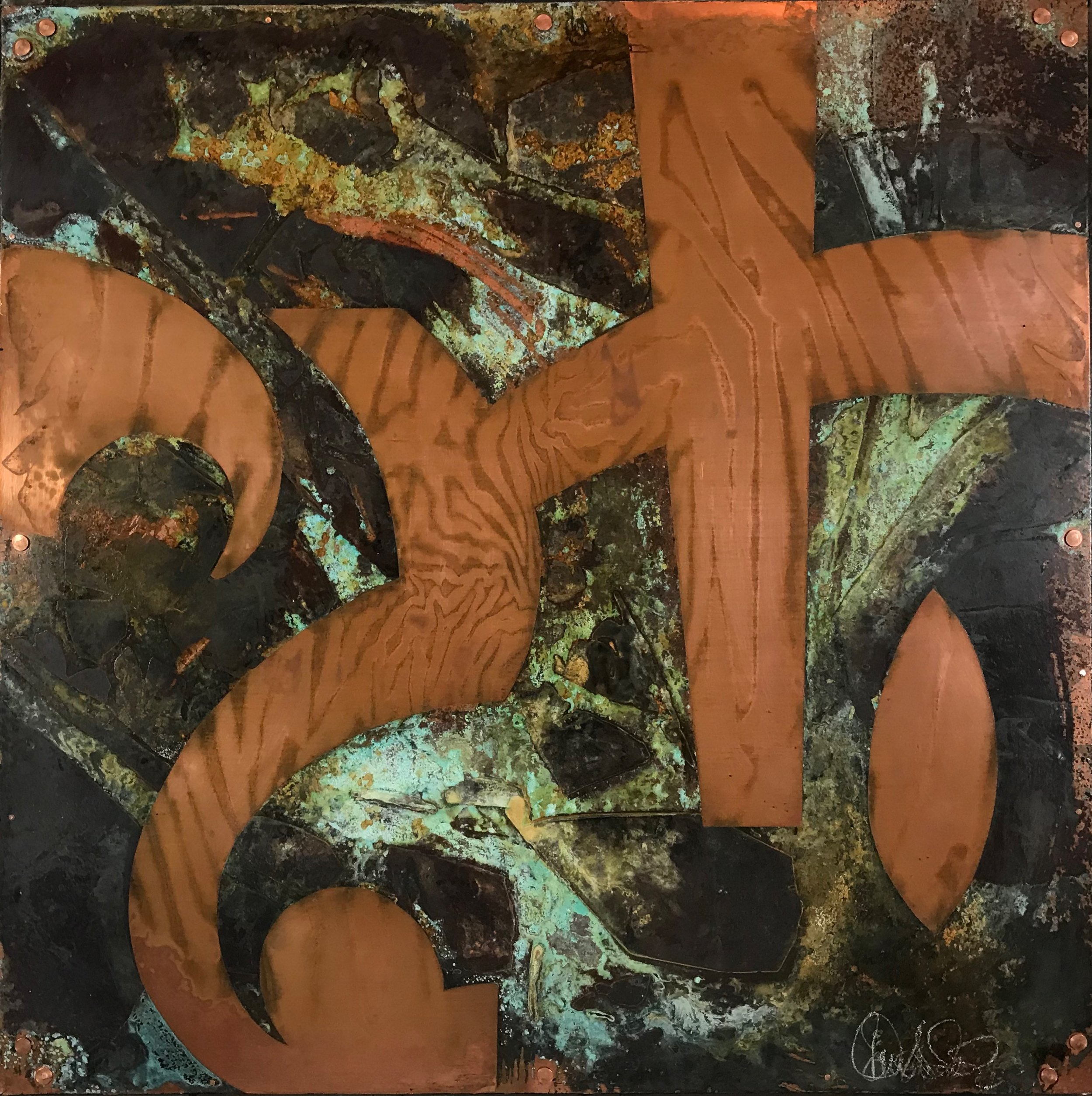 """STRIVE FOR TONE  /24"""" X 24"""" X 1.75"""" / Mixed Media and Copper"""
