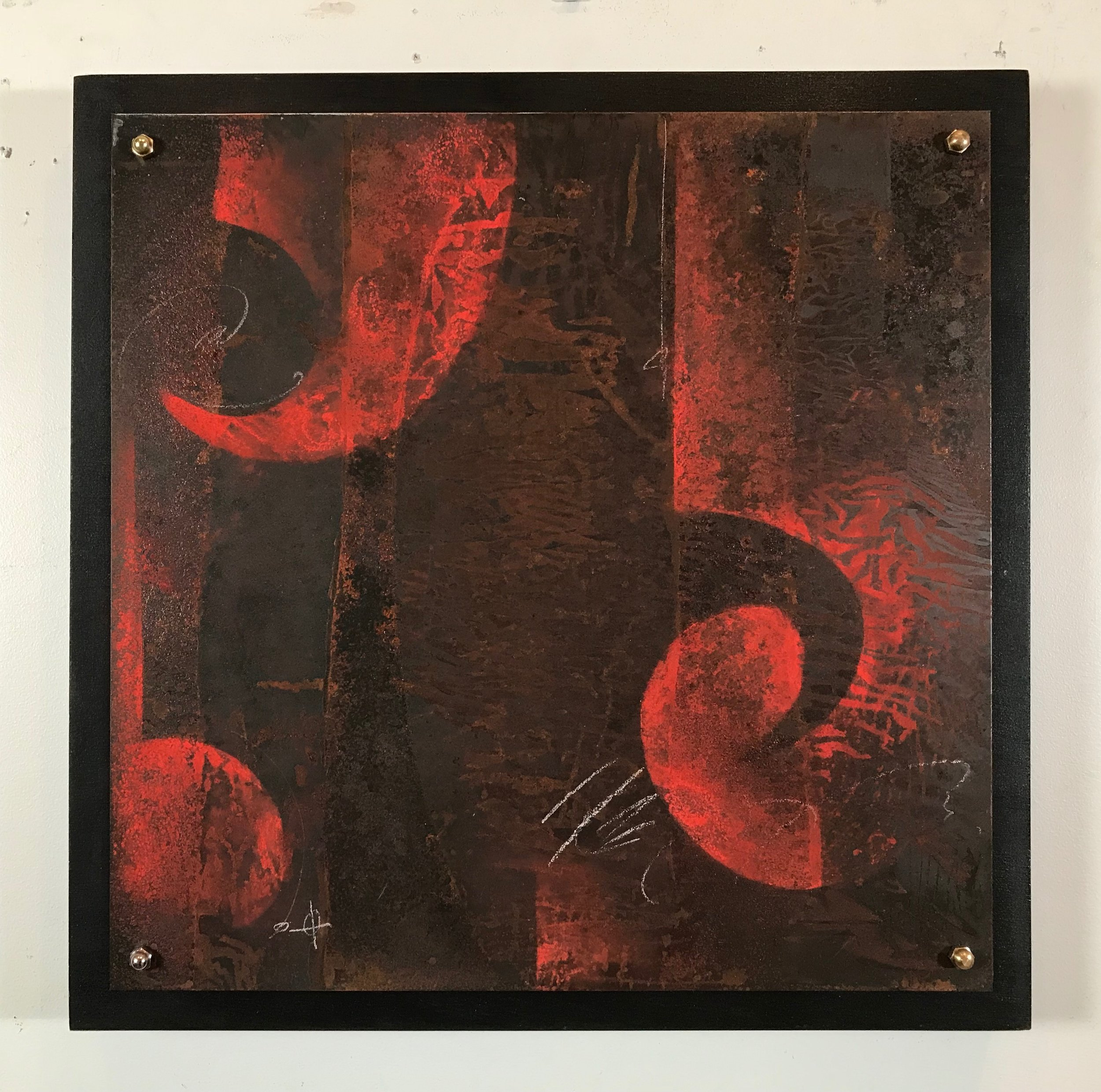 "FLAME WORK #1  /  20""  X 20"" X 1.75"" / Mixed Media and Steel"