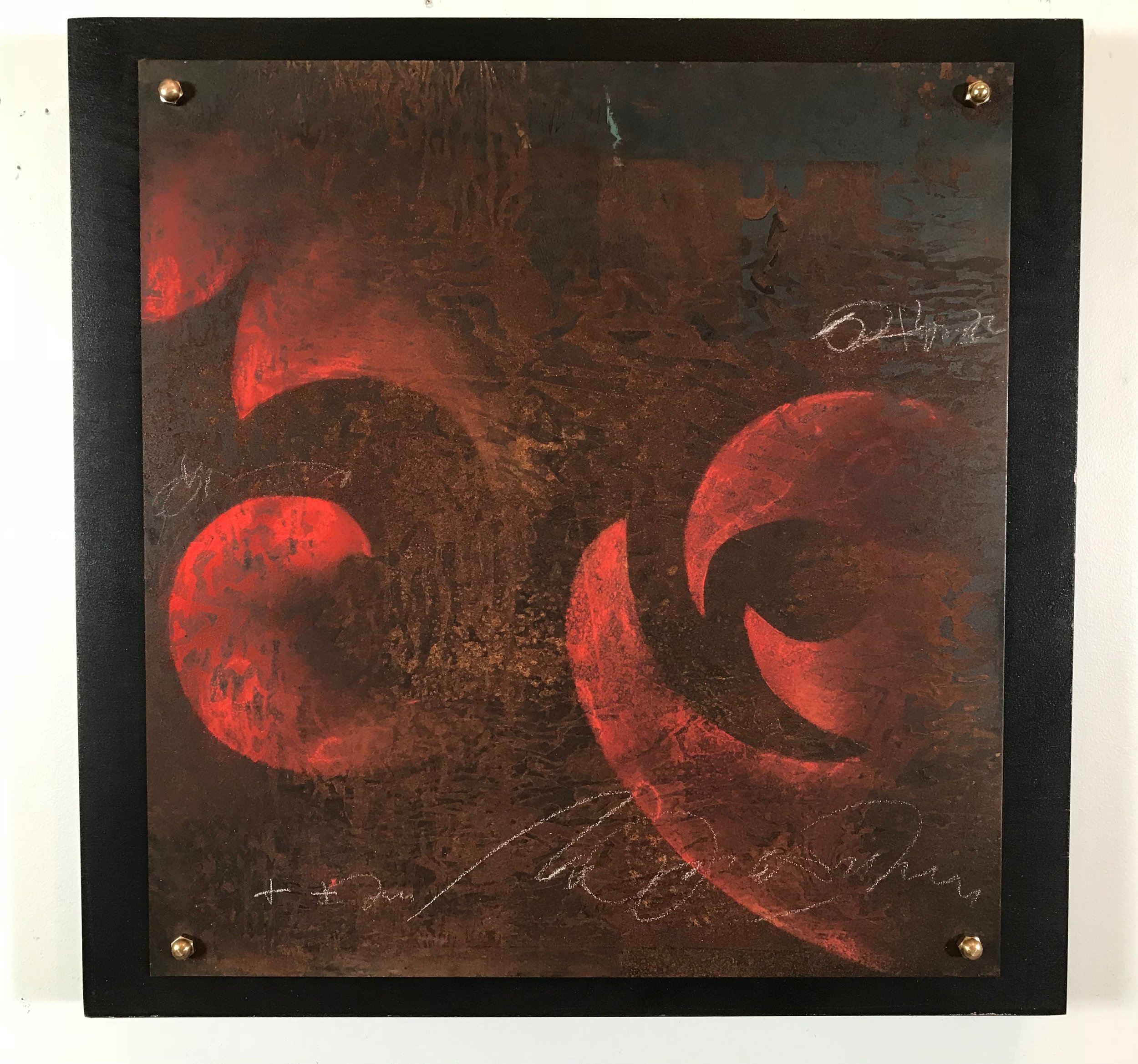 "FLAME WORK #2  /  20""  X 20"" X 1.75"" / Mixed Media and Steel"