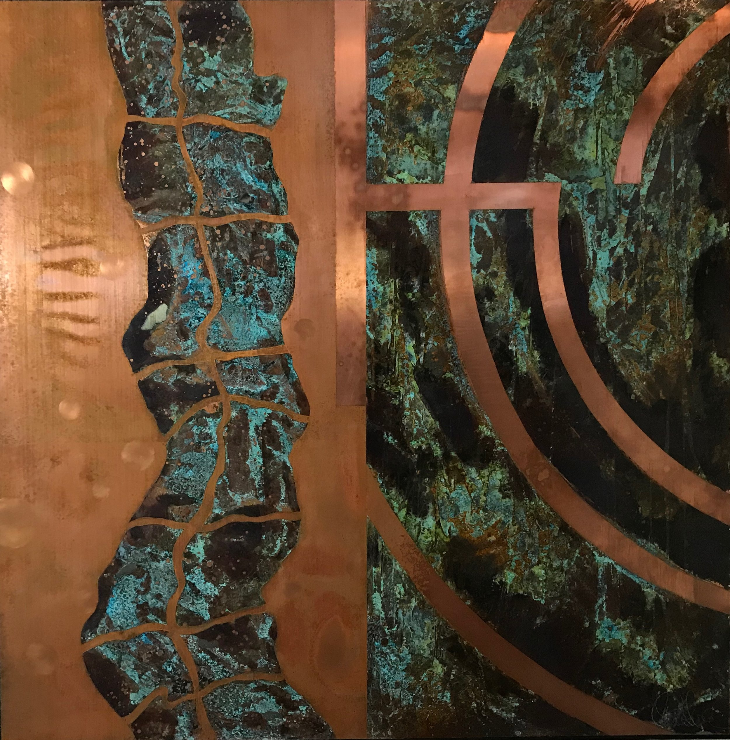 """REFLECTING  /48"""" X 48"""" X 1.75""""/ Mixed Media and Copper"""