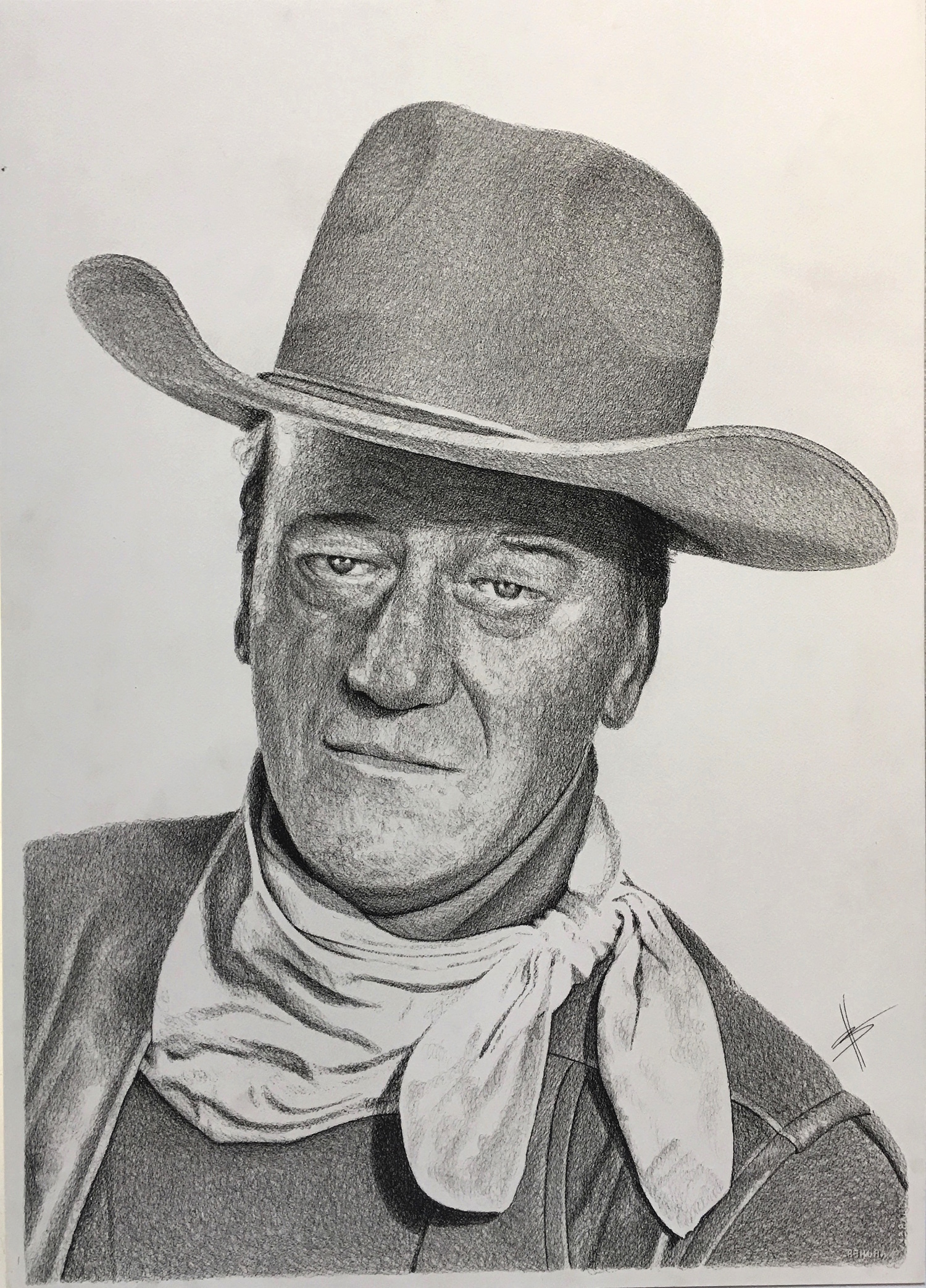 JOHN WAYNE  30″ X 22″ / Ink on Paper