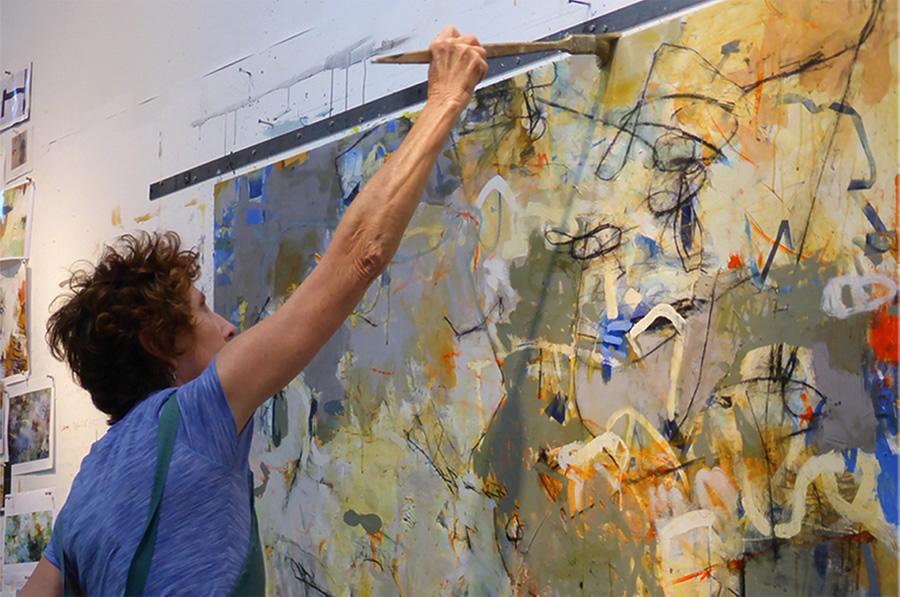 "Krista Harris    working ""large"" in her studio."