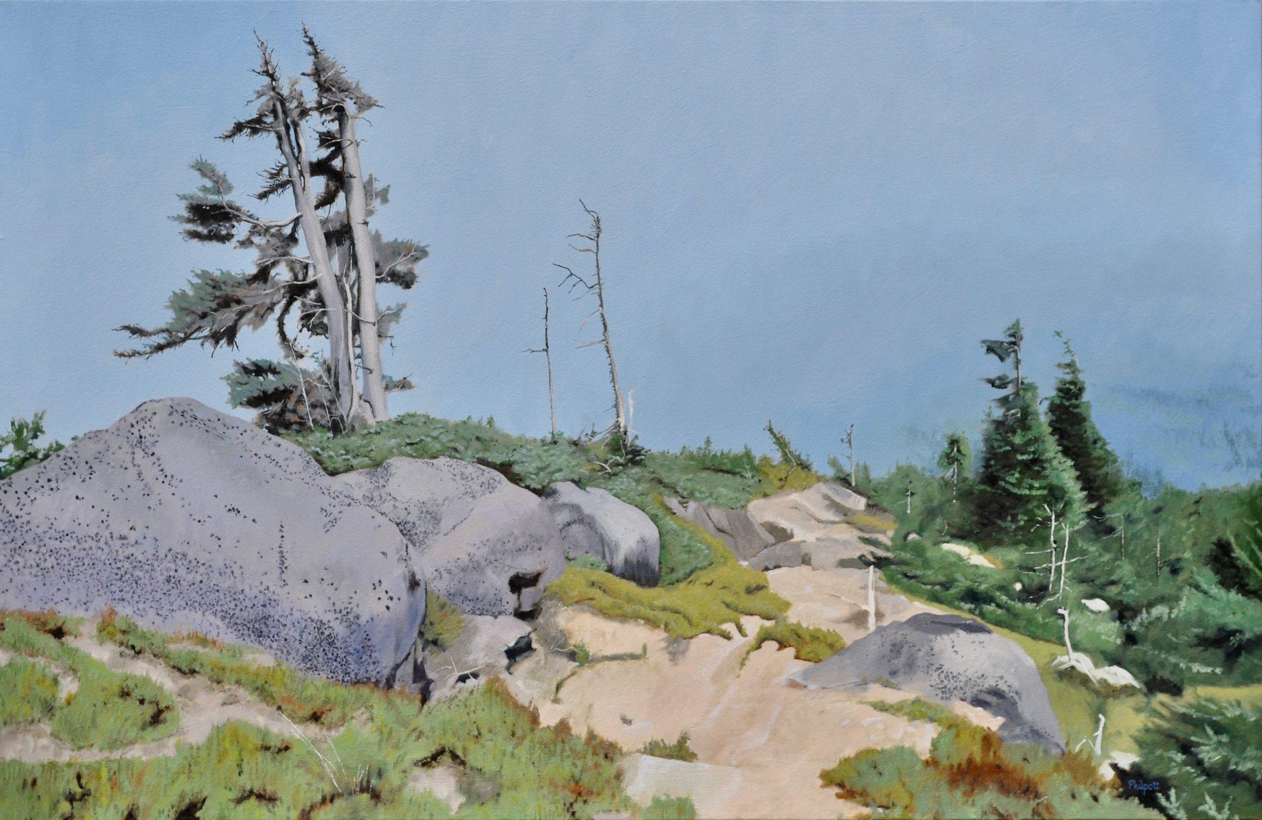 Descending Trail, oil on canvas, 26×40