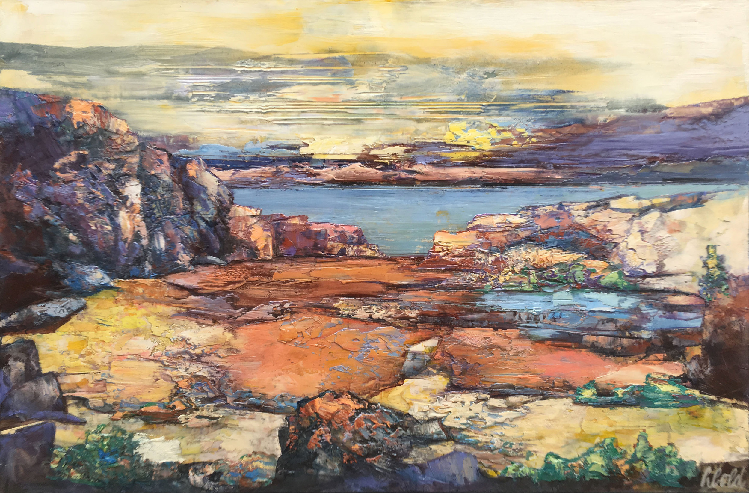 EAST OF THE COLUMBIA GORGE  47″ X 70.5″ / Mixed Media
