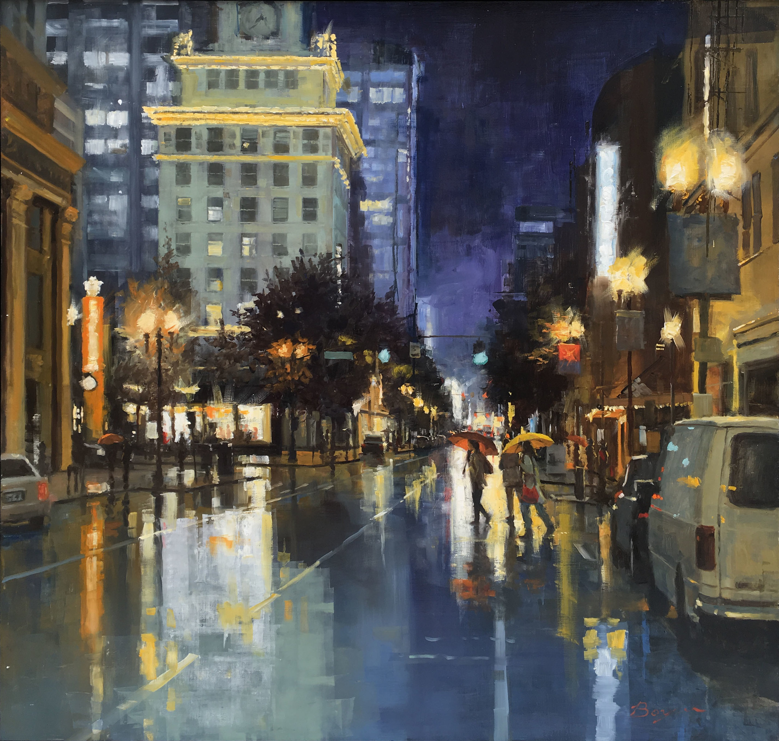 BROADWAY AND MORRISON  40″ X 40″ / Oil