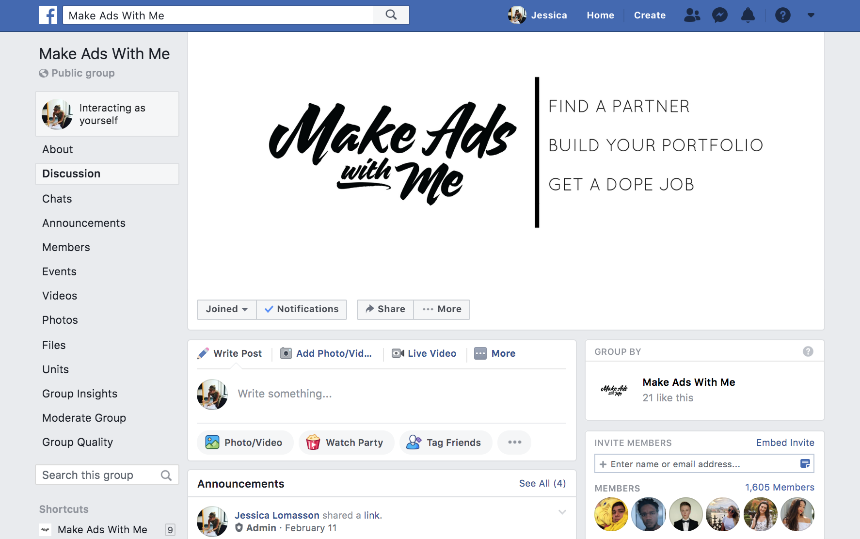Facebook group of 1600+ members to connect with