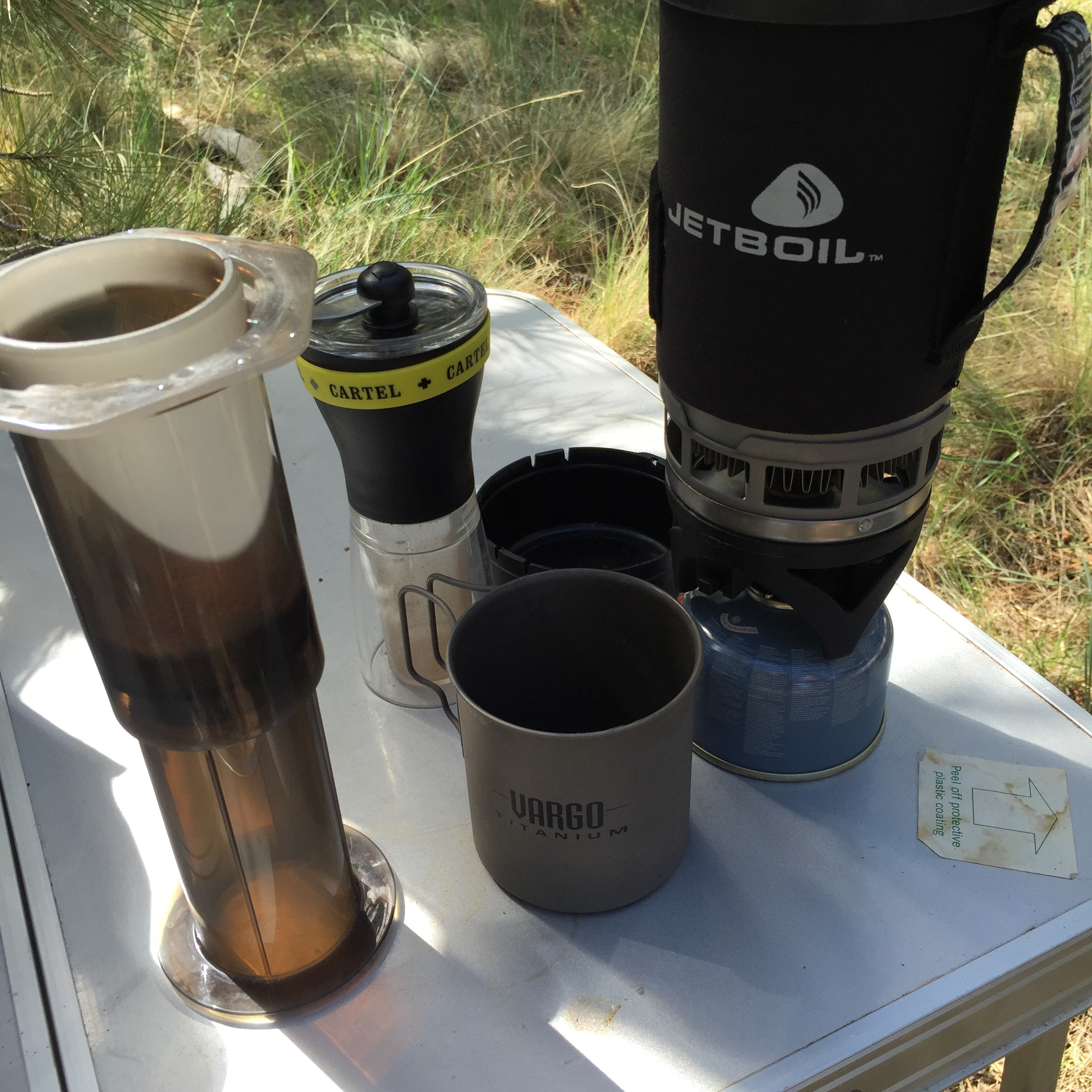 The (car) camping kit - prepping some  Verve Lucila Bolanos  in the  Aeropress .