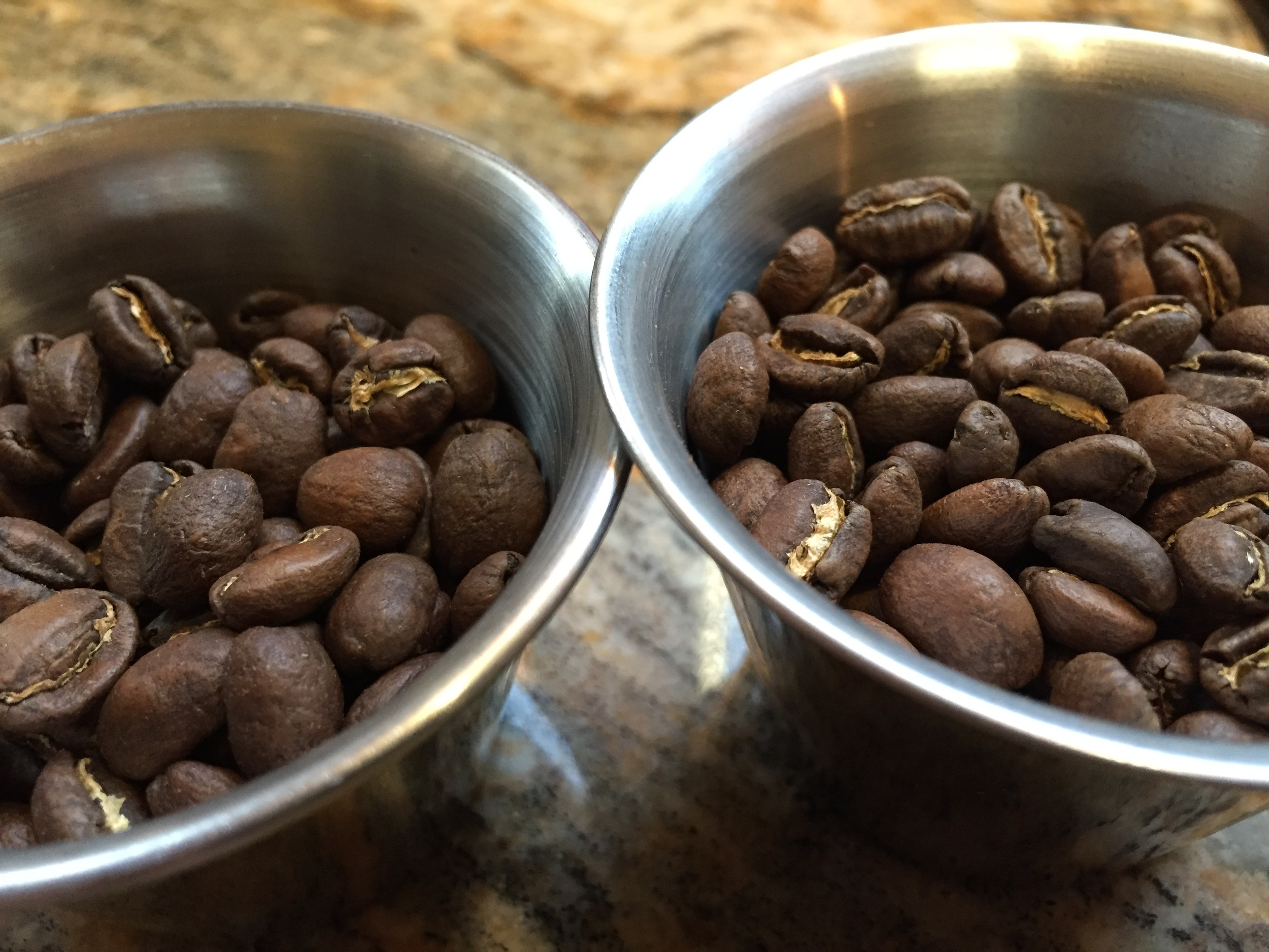 Epic Espresso with a slightly more developed roast profile on the left.  Ethiopia Deri SO on the right.