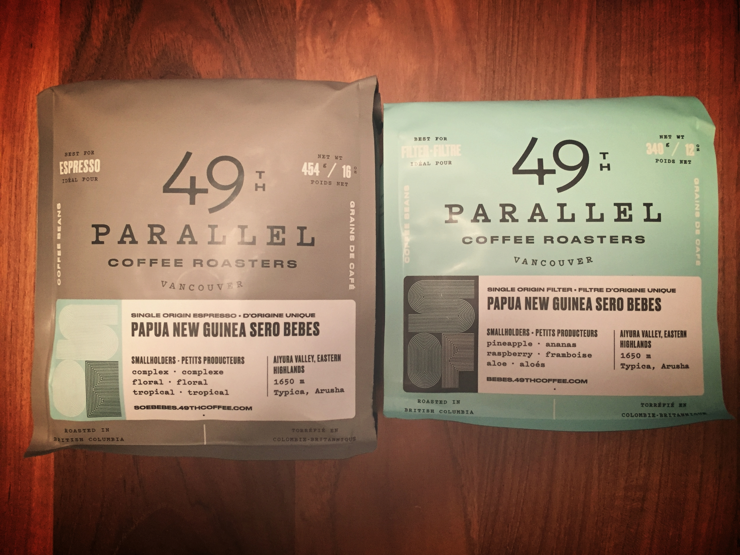 The same coffee roasted at two different levels/profiles.