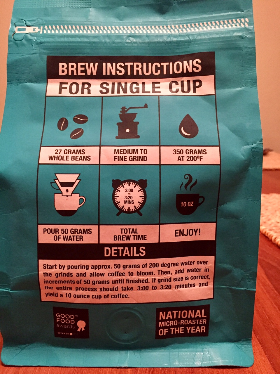 Although I was a little unclear about how much water they were actually recommending, I do appreciate the brewing instructions on the back of the bag.