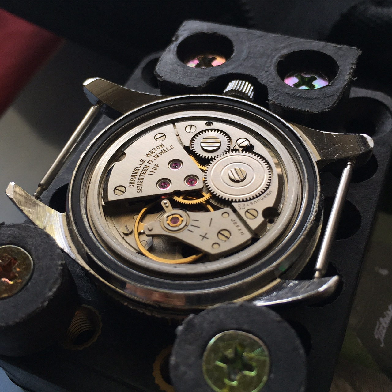 A very clean seventeen jewel, manual wind Japanese movement. The movement is super clean and gained only 2 seconds over 24 hours when left face up.