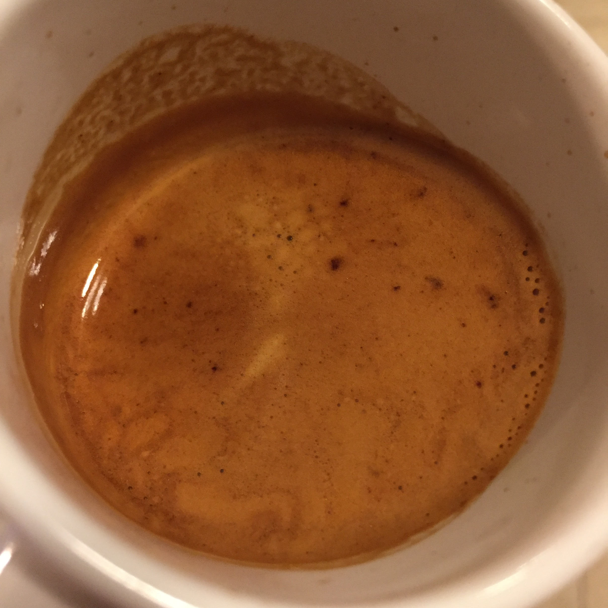 A very densely sweet and bright espresso shot in the IMS basket.