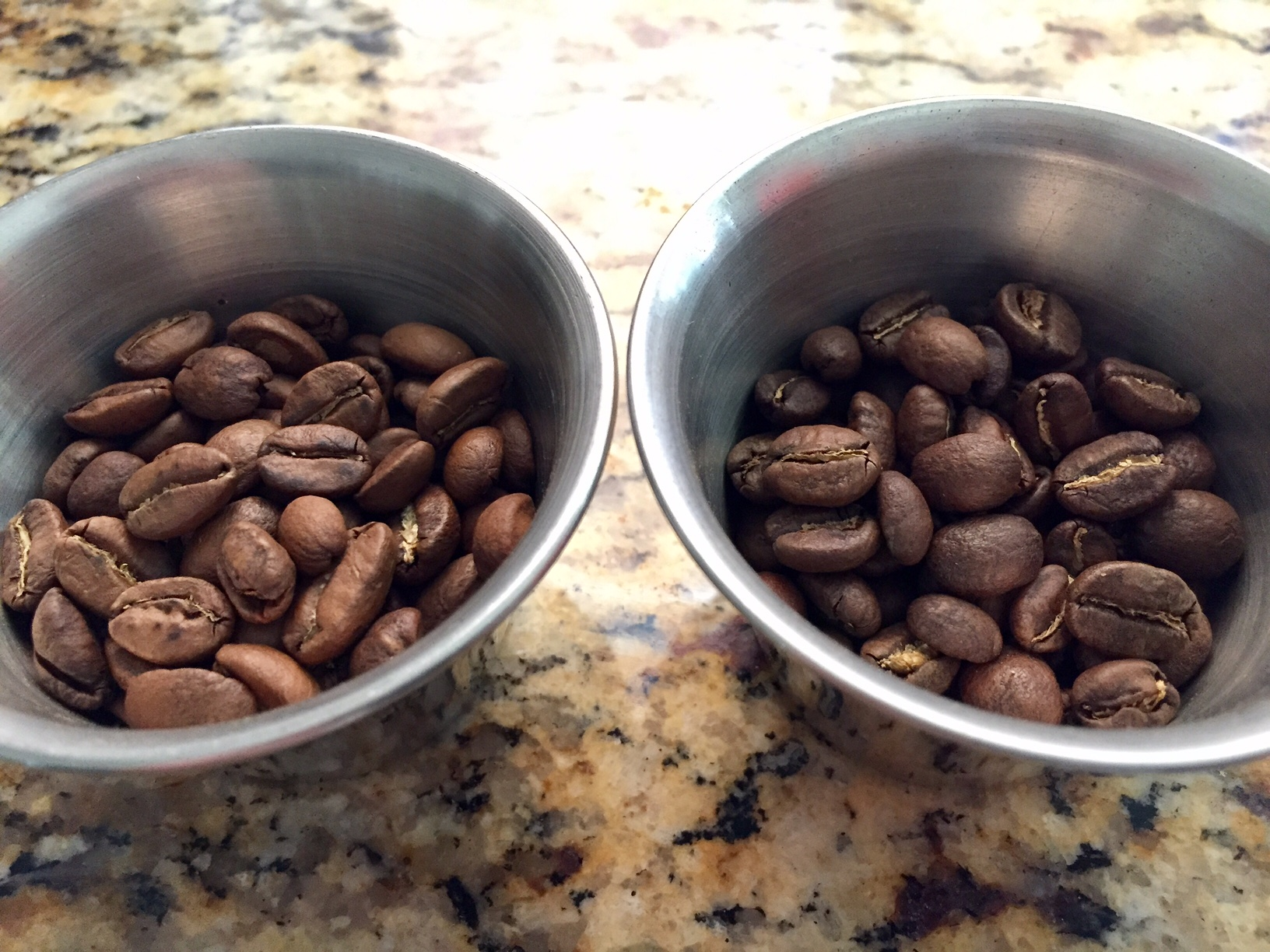 As compared to last week's Commonwealth Ontology espresso blend, Cascadia (right) is roasted considerably darker.